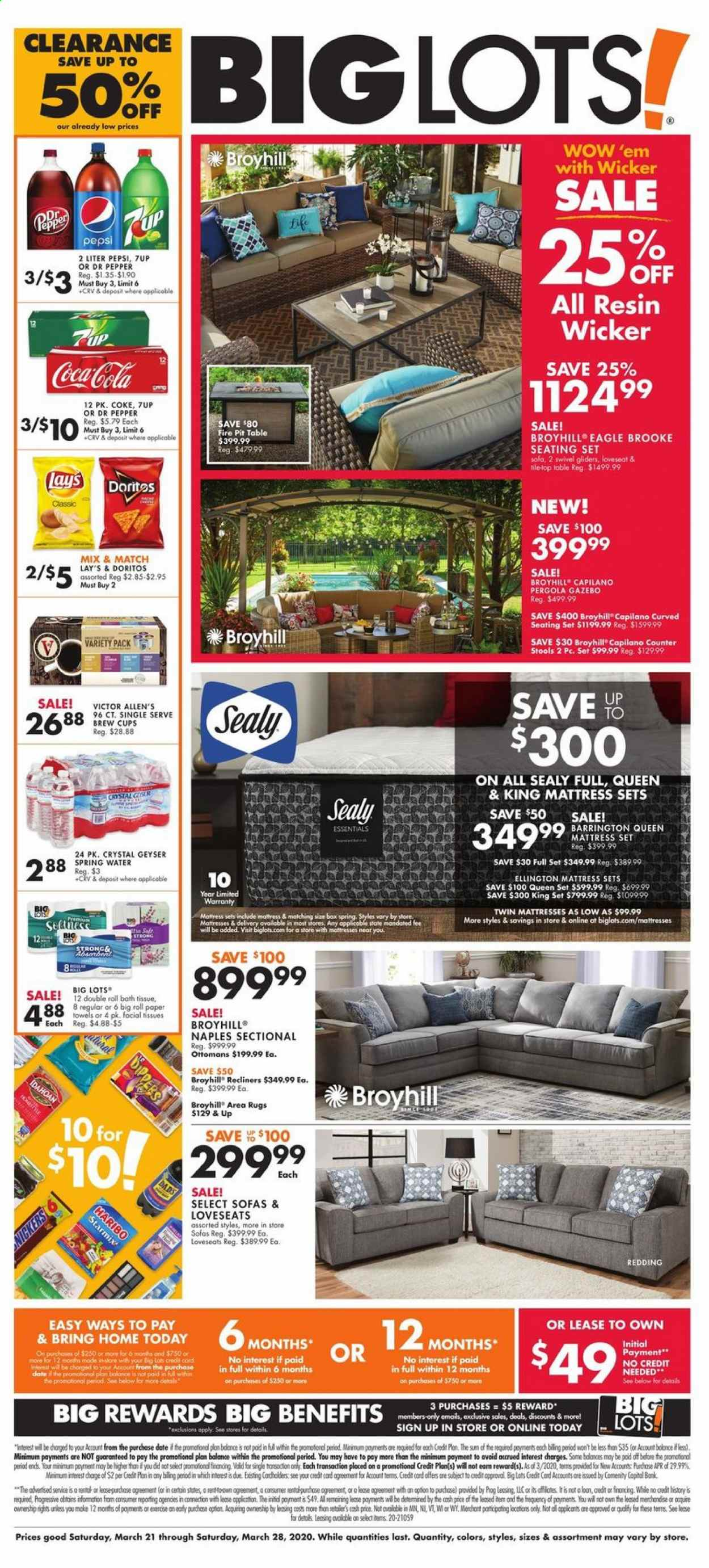 Big Lots Flyer - 03.21.2020 - 03.28.2020 - Sales products - table, loveseat, sofa, seating set, mattress, pergola, Haribo, Doritos, Lay's, Coca-Cola, Pepsi, Dr. Pepper, 7UP, spring water, L'Or, bath tissue, kitchen towels, paper towels, facial tissues, pan, cup, essentials, water. Page 1.