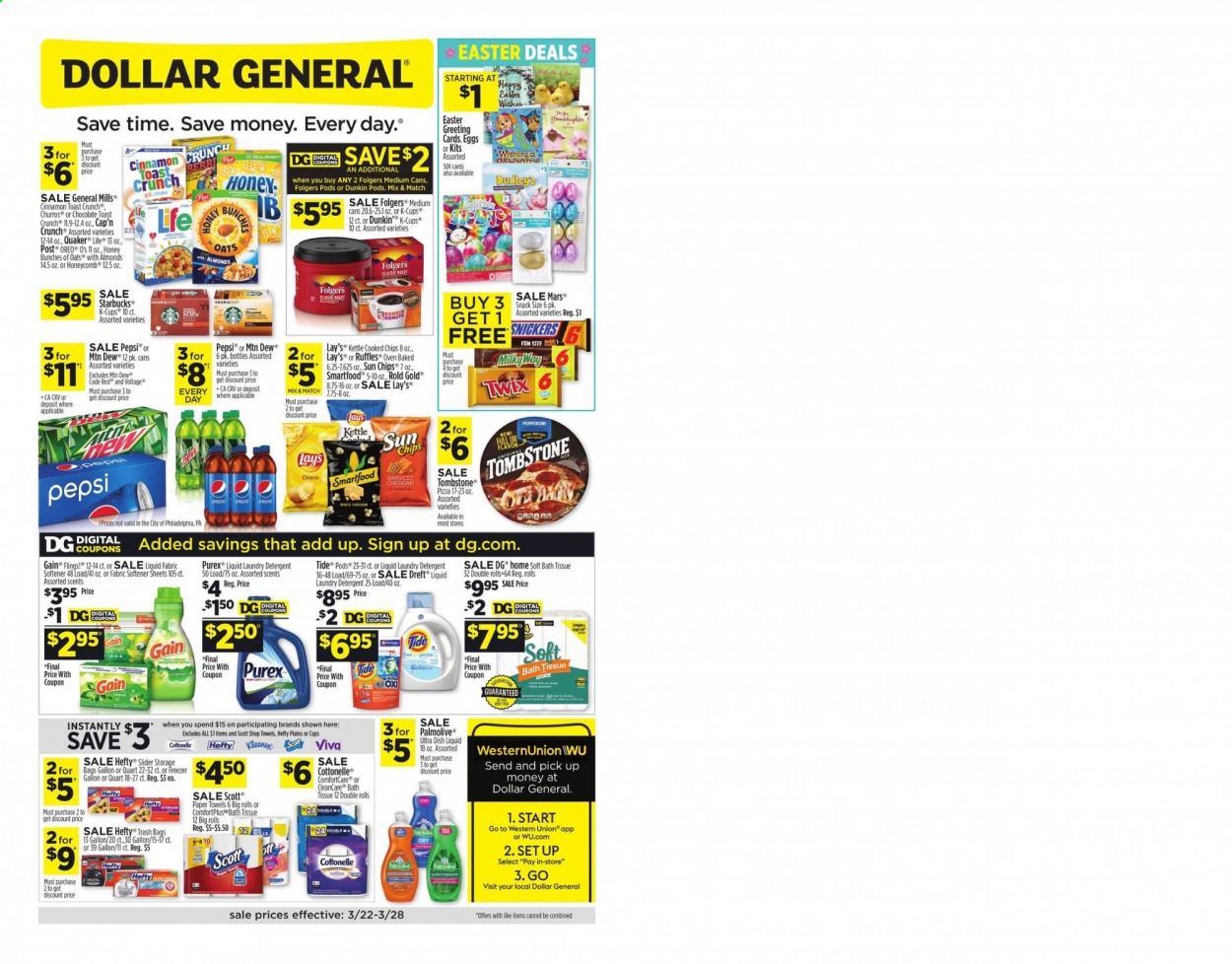 Dollar General Flyer - 03.22.2020 - 03.28.2020 - Sales products - Scott, toast bread, pizza, Quaker, pepperoni, Oreo, eggs, chocolate, Snickers, Twix, Mars, chips, snack, Lay's, Smartfood, Ruffles, oats, Churros, Cap'n Crunch, cinnamon, almonds, Mountain Dew, Pepsi, Starbucks, Folgers, coffee capsules, K-Cups, bath tissue, Cottonelle, kitchen towels, paper towels, detergent, Gain, Tide, fabric softener, laundry detergent, Purex, dishwashing liquid, Palmolive, Hefty, trash bags, plate, sheet, freezer, oven, kettle, cap, bag, Bunches, car battery. Page 1.