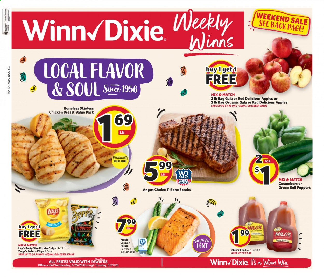 Winn Dixie Flyer - 03.25.2020 - 03.31.2020 - Sales products - bell peppers, cucumbers, peppers, apples, Red Delicious, chicken, chicken breast, t-bone steak, salmon, potato chips, chips, Lay's, tea. Page 1.