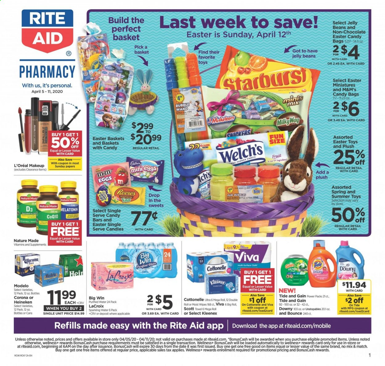 RITE AID Flyer - 04.05.2020 - 04.11.2020 - Sales products - Corona, Scott, chocolate, Milky Way, Snickers, Twix, M&M's, jelly, beans, sparkling water, water, Cottonelle, Kleenex, Gain, wipes, Downy, Tide, Unstopables, L'Oréal, makeup, Frozen, toys, Melatonin, Nature Made. Page 1.