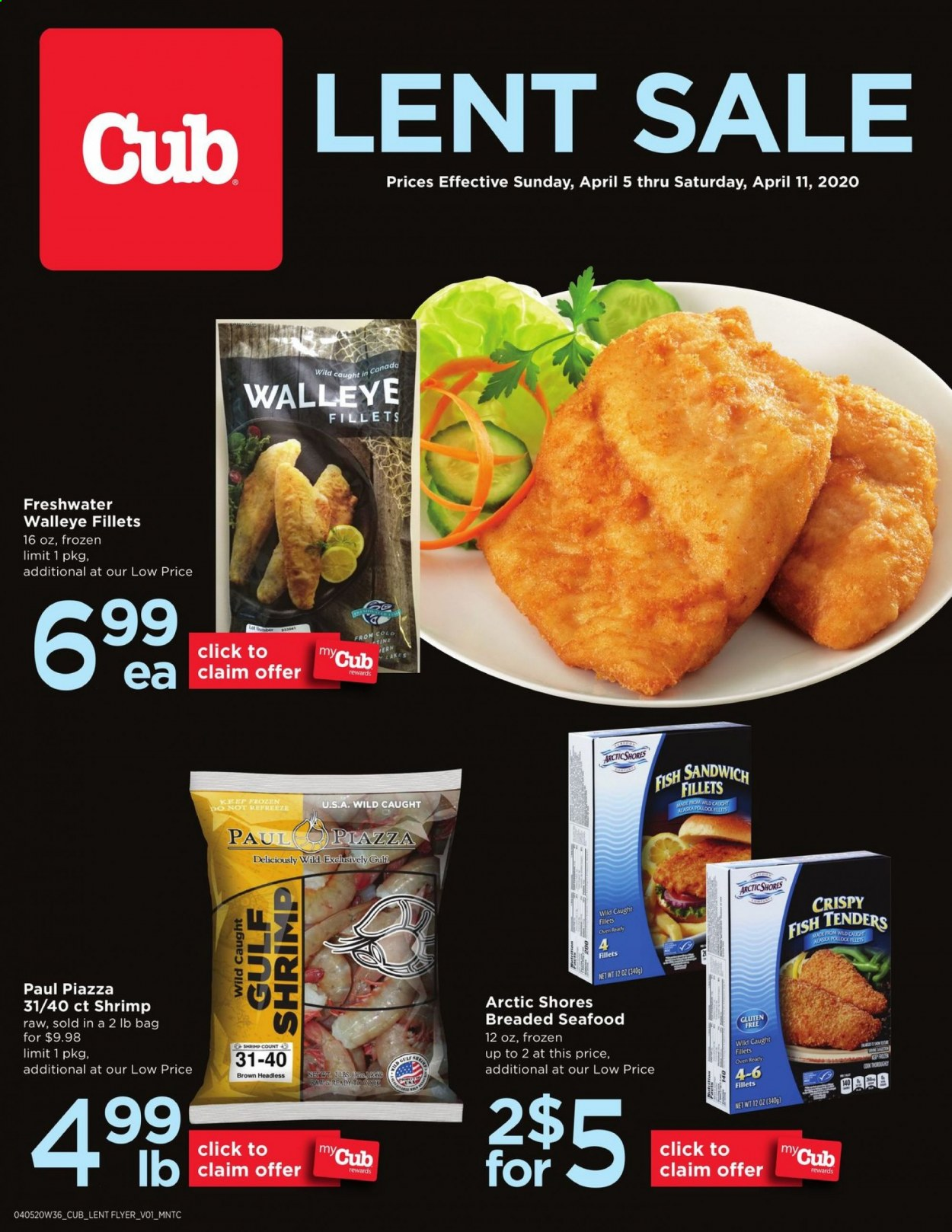 Cub Foods Flyer - 04.05.2020 - 04.11.2020 - Sales products - fish fillets, seafood, fish, shrimps, sandwich. Page 1.