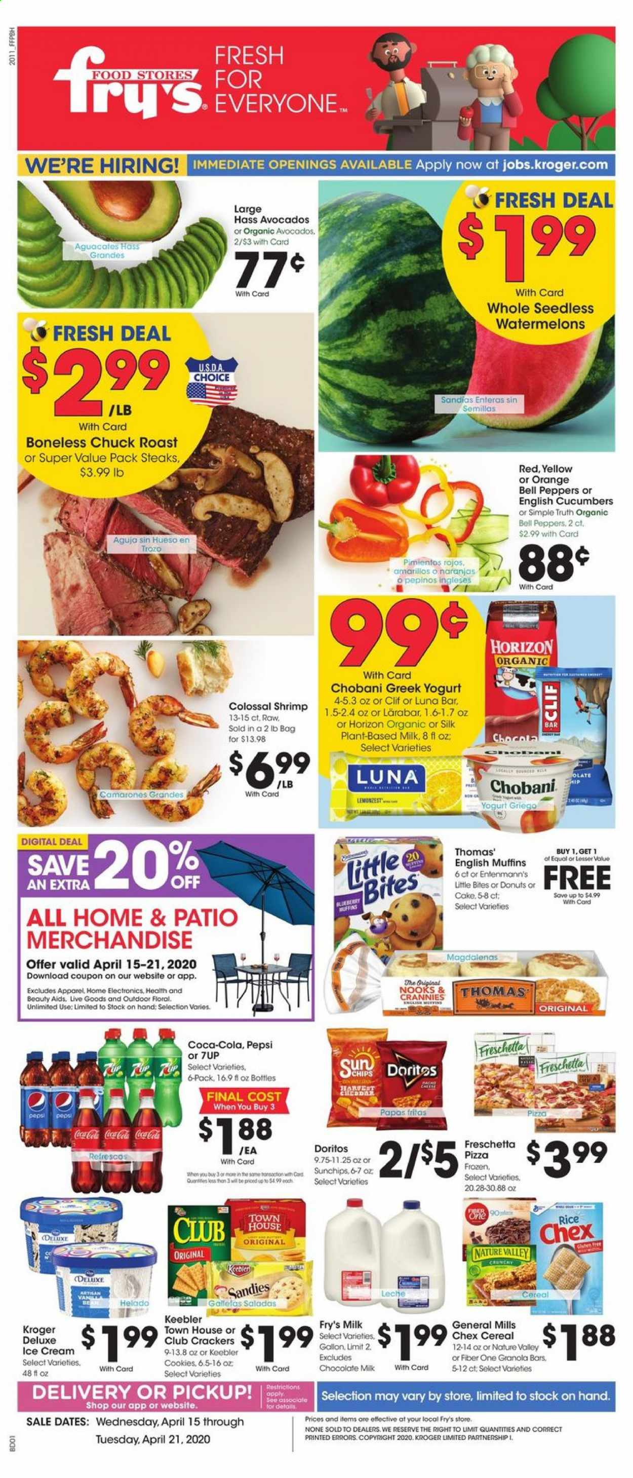 Fry's Flyer - 04.15.2020 - 04.21.2020 - Sales products - bell peppers, cucumbers, peppers, avocado, orange, cake, donut, muffin, shrimps, english muffins, pizza, greek yoghurt, milk, chocolate milk, ice cream, cookies, chocolate, cracker, crackers, Doritos, chips, cereals, granola, granola bar, rice, Coca-Cola, Pepsi, Frozen, granola bars, muffins. Page 1.