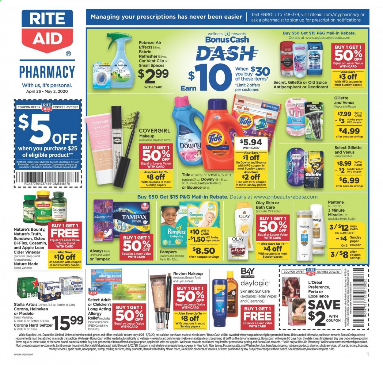 RITE AID Flyer - 04.26.2020 - 05.02.2020 - Sales products - Stella Artois, Corona, Bounty, seltzer, Pampers, diapers, Febreze, wipes, Downy, Tide, Unstopables, Old Spice, Tampax, Always pads, L'Oréal, Olay, refresher, Revlon, Pantene, anti-perspirant, secret, Gillette, Venus, tools, makeup, pad, calcium, Cosamin, Nature Made, Nature's Bounty, Nature's Truth, Osteo bi-flex, Bi-Flex, moisture. Page 1.
