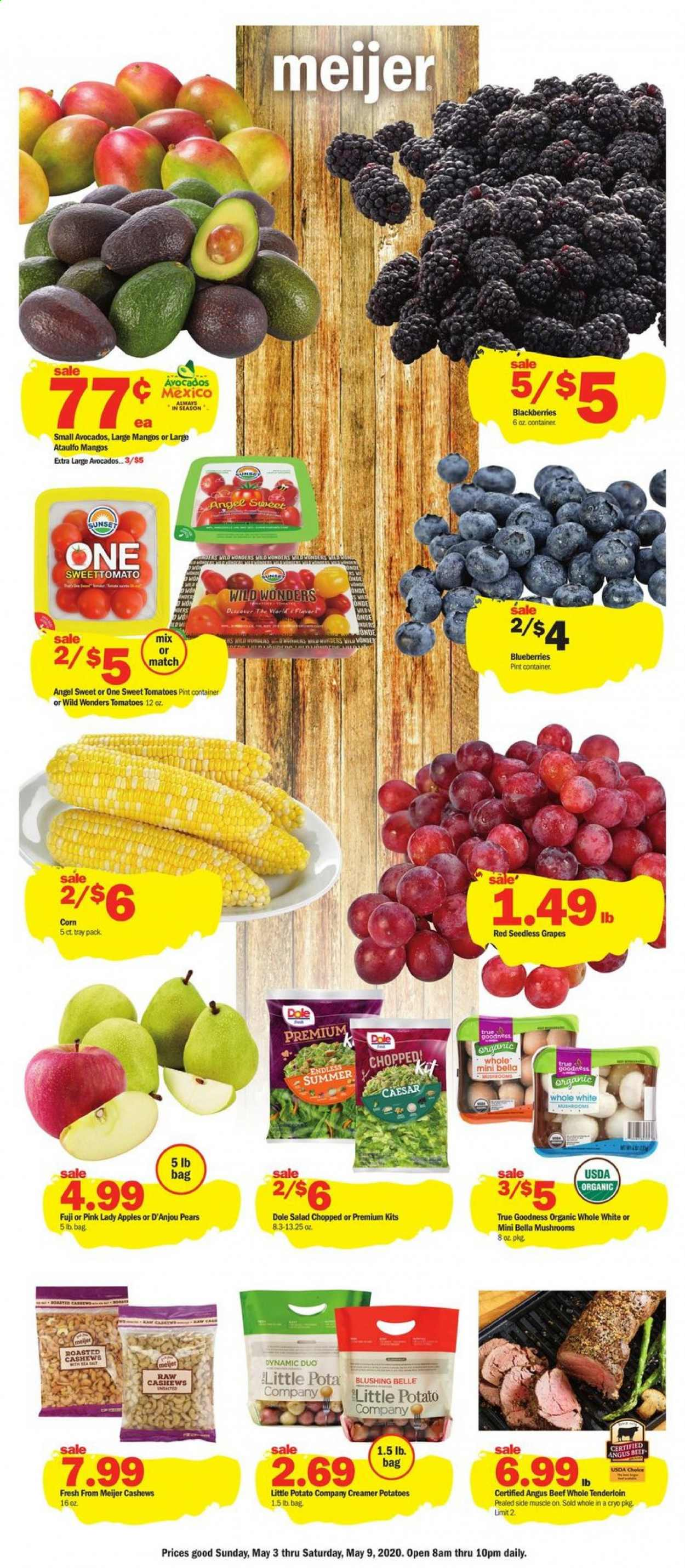 Meijer Flyer - 05.03.2020 - 05.09.2020 - Sales products - mushroom, blackberries, blueberries, seedless grapes, Dole, apples, pears, salad, corn, mango, cashews, beef meat, Bella, tray. Page 1.