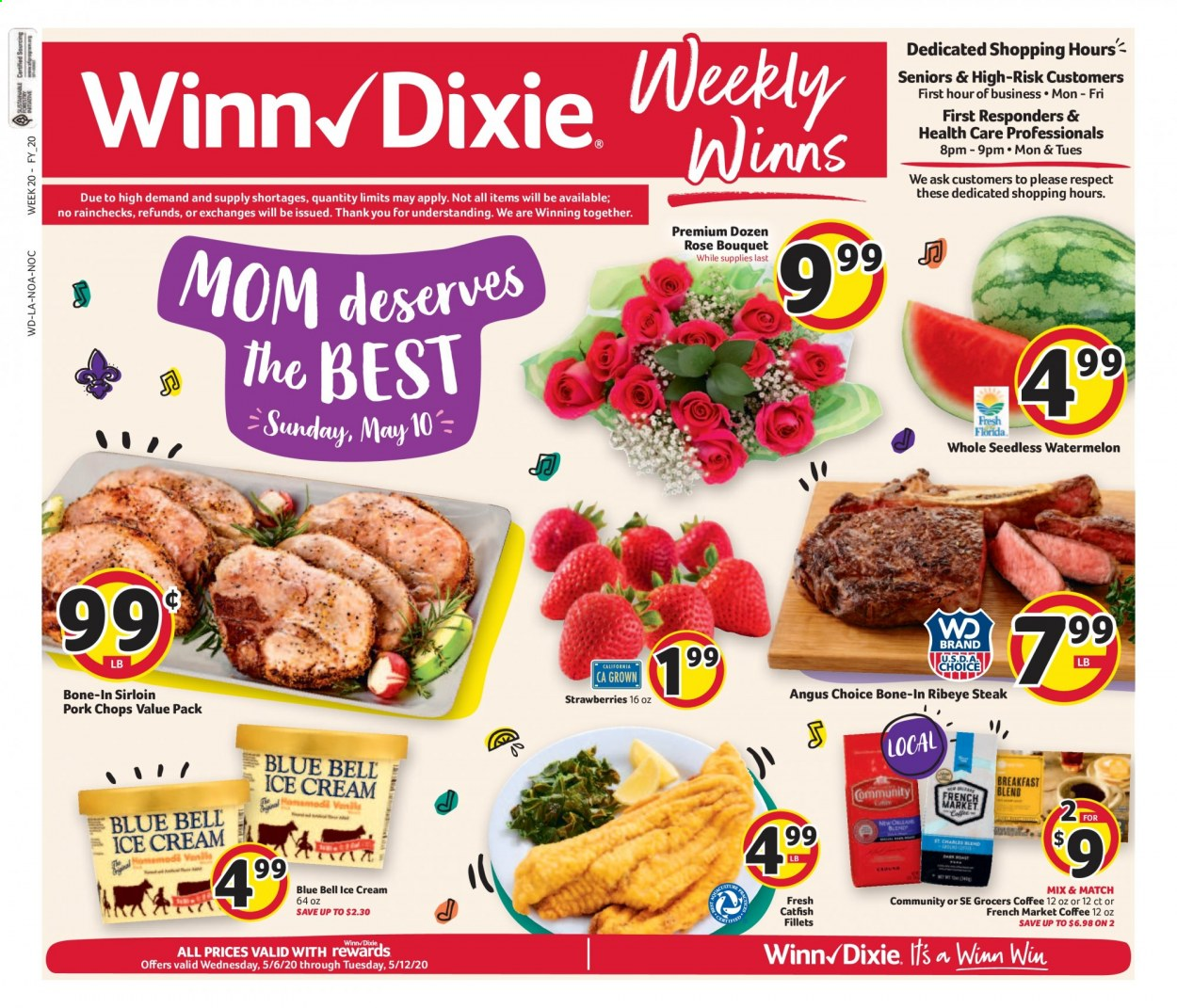 Winn Dixie Flyer - 05.06.2020 - 05.12.2020 - Sales products - strawberries, watermelon, steak, pork chops, pork meat, catfish, ice cream, coffee. Page 1.