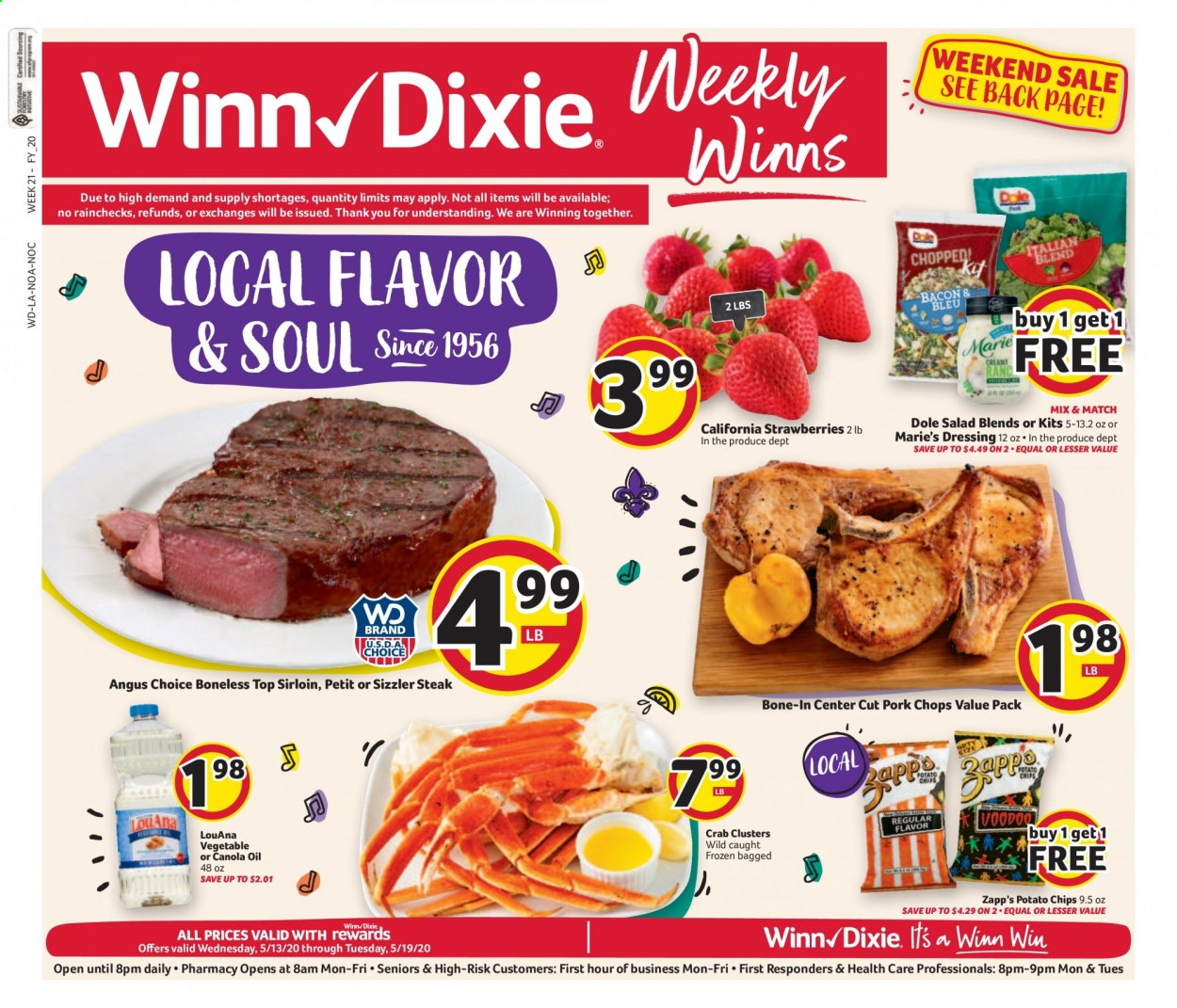 Winn Dixie Flyer - 05.13.2020 - 05.19.2020 - Sales products - Dole, strawberries, steak, pork chops, pork meat, crab, potato chips, chips, dressing, canola oil. Page 1.