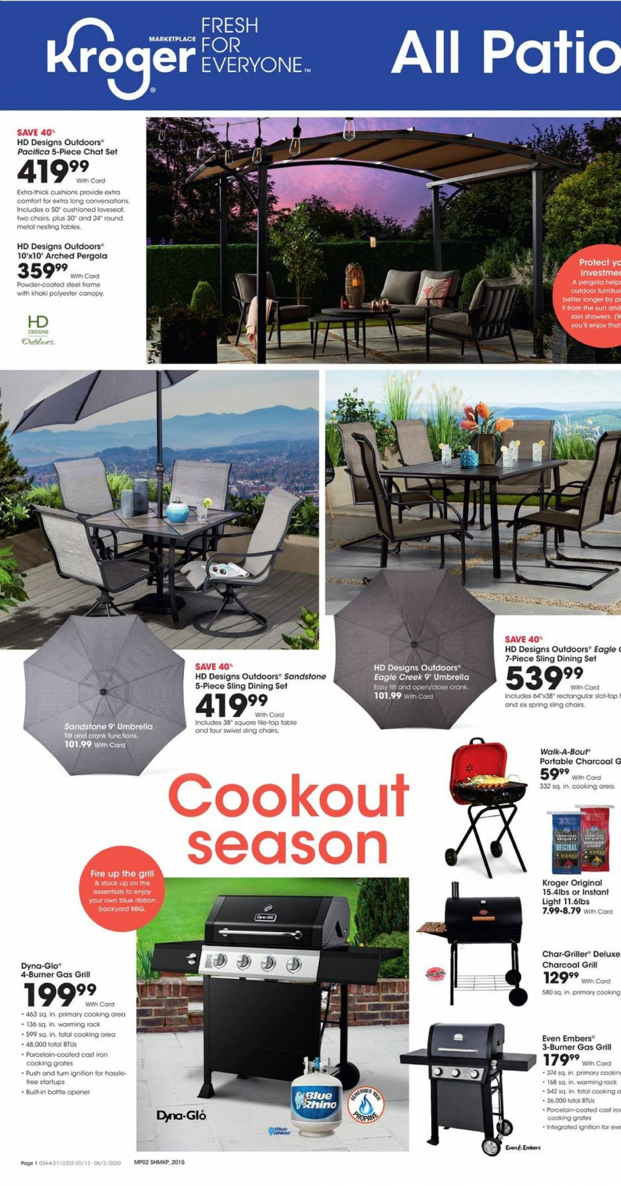 Kroger Flyer - 05.13.2020 - 06.02.2020 - Sales products - dining set, table, chair, loveseat, outdoor furniture, cushion, cod, powder, bottle opener, ribbon, iron, charcoal. Page 1.