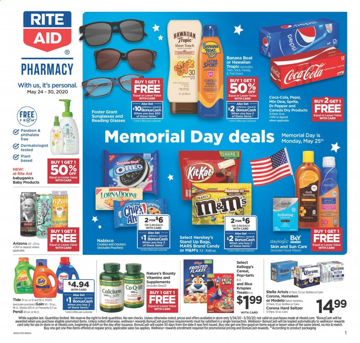 RITE AID Flyer - 05.24.2020 - 05.30.2020 - Sales products - Stella Artois, Corona, Oreo, cookies, candy, Bounty, Mars, KitKat, M&M's, crackers, chips, cocoa, cereals, pepper, peanuts, Canada Dry, Coca-Cola, Sprite, Pepsi, Dr. Pepper, seltzer, water, Gain, wipes, Tide, Persil, glass, sunglasses, calcium, Nature's Bounty. Page 1.