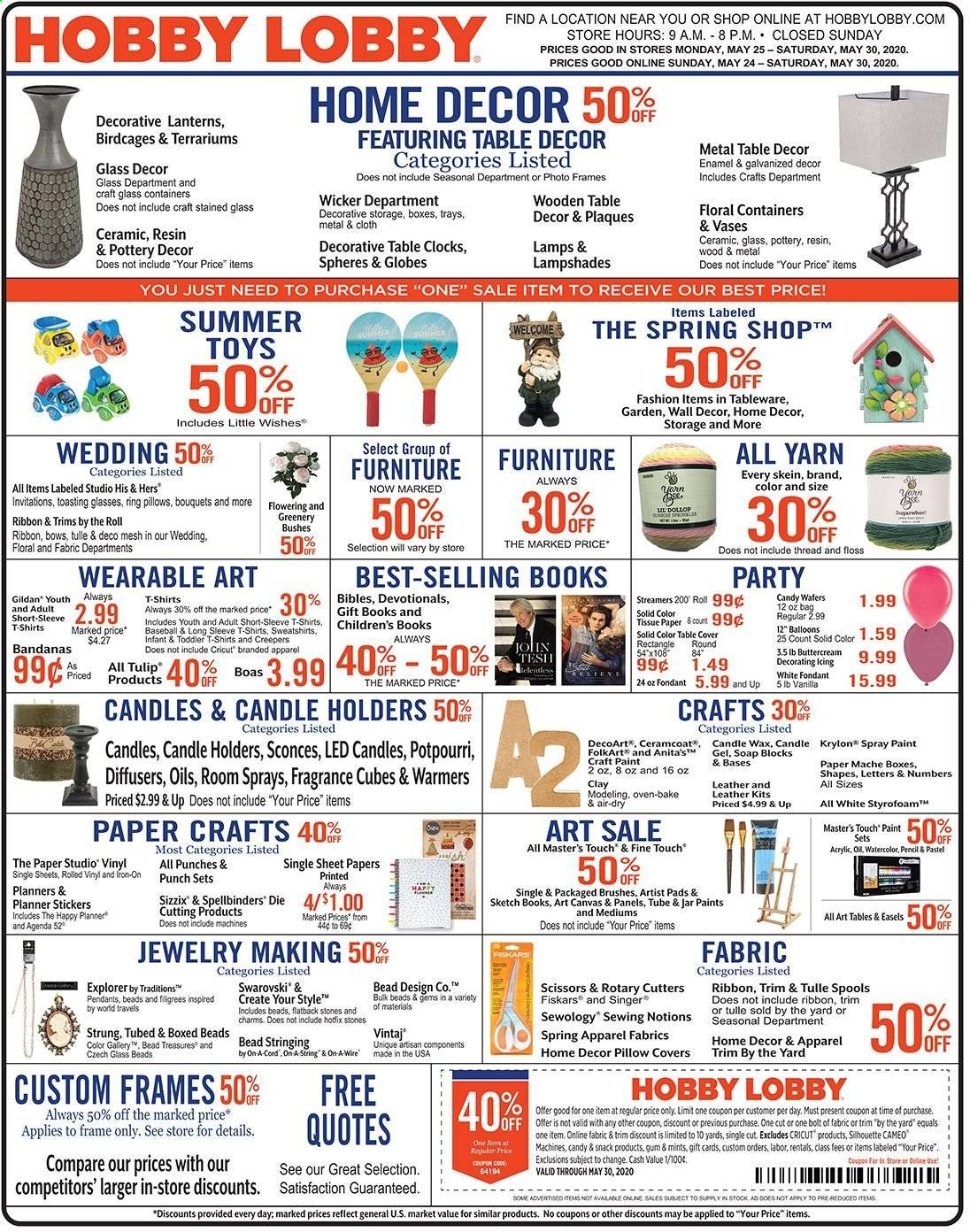 Hobby Lobby Flyer  - 05.24.2020 - 05.30.2020. Page 1.