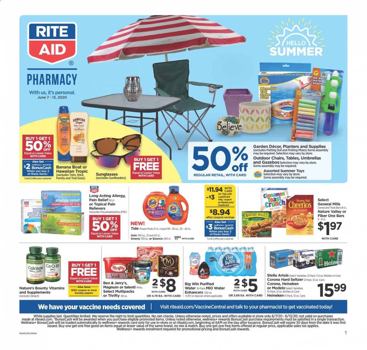 RITE AID Flyer - 06.07.2020 - 06.13.2020 - Sales products - Stella Artois, Corona, Magnum, Bounty, oats, strawberries, cereals, Cheerios, seltzer, water, Gain, Downy, Tide, Hugo Boss, sunglasses, toys, Pain Relief, calcium, Nature's Bounty. Page 1.