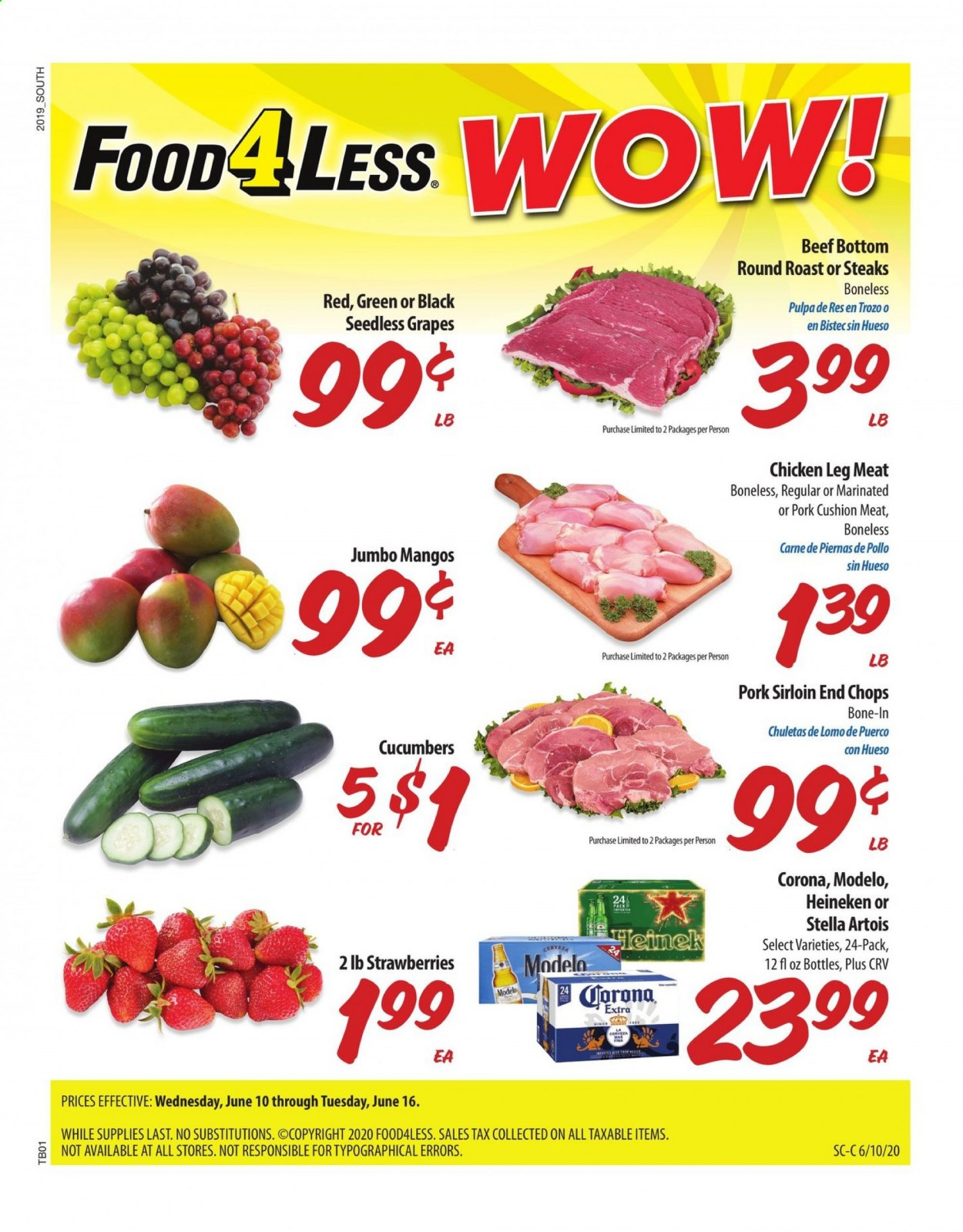 Food 4 Less Flyer  - 06.10.2020 - 06.16.2020. Page 1.