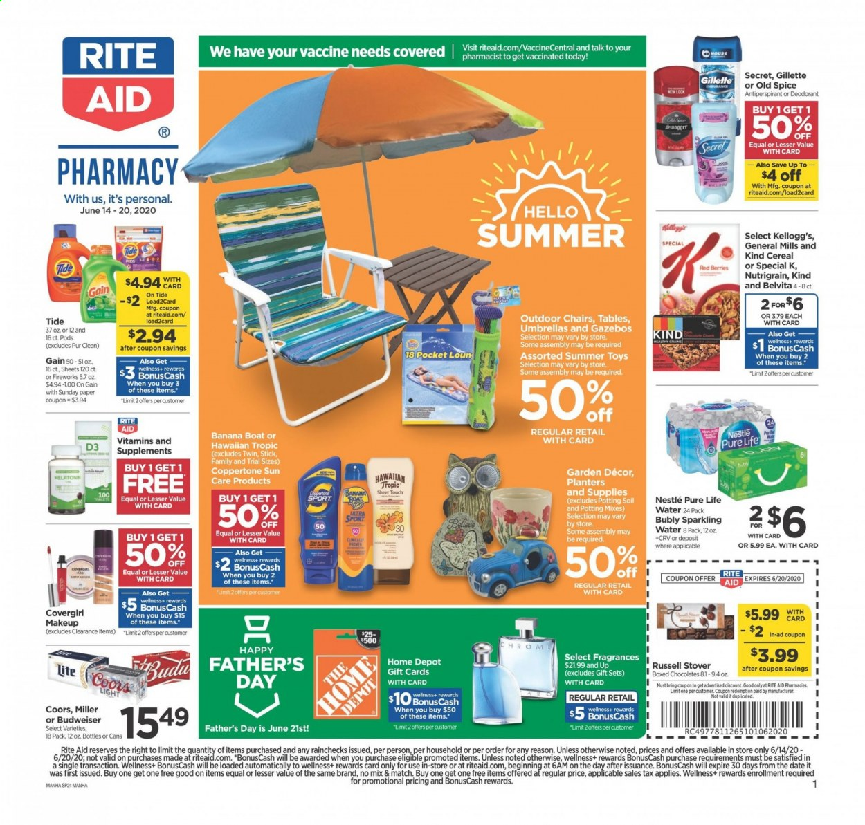 RITE AID Flyer - 06.14.2020 - 06.20.2020 - Sales products - Budweiser, Coors, Nestlé, cereals, sparkling water, water, Gain, Tide, Old Spice, anti-perspirant, secret, Gillette, makeup, toys, Melatonin. Page 1.