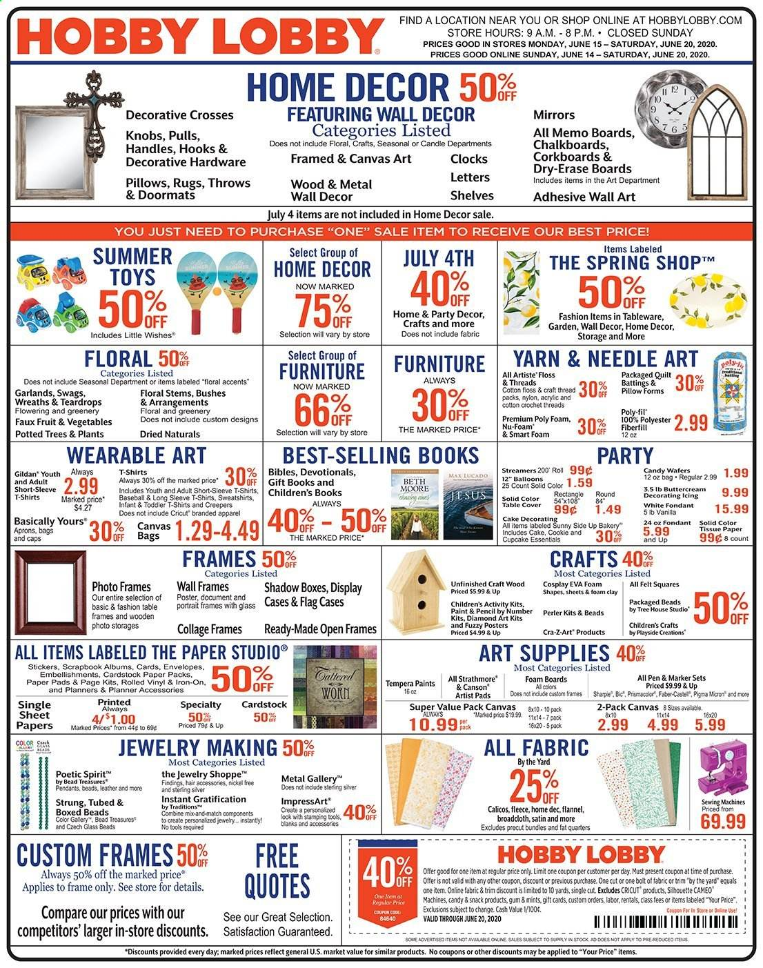 Hobby Lobby Flyer 06 15 2020 06 20 2020 Page 1 Weekly Ads