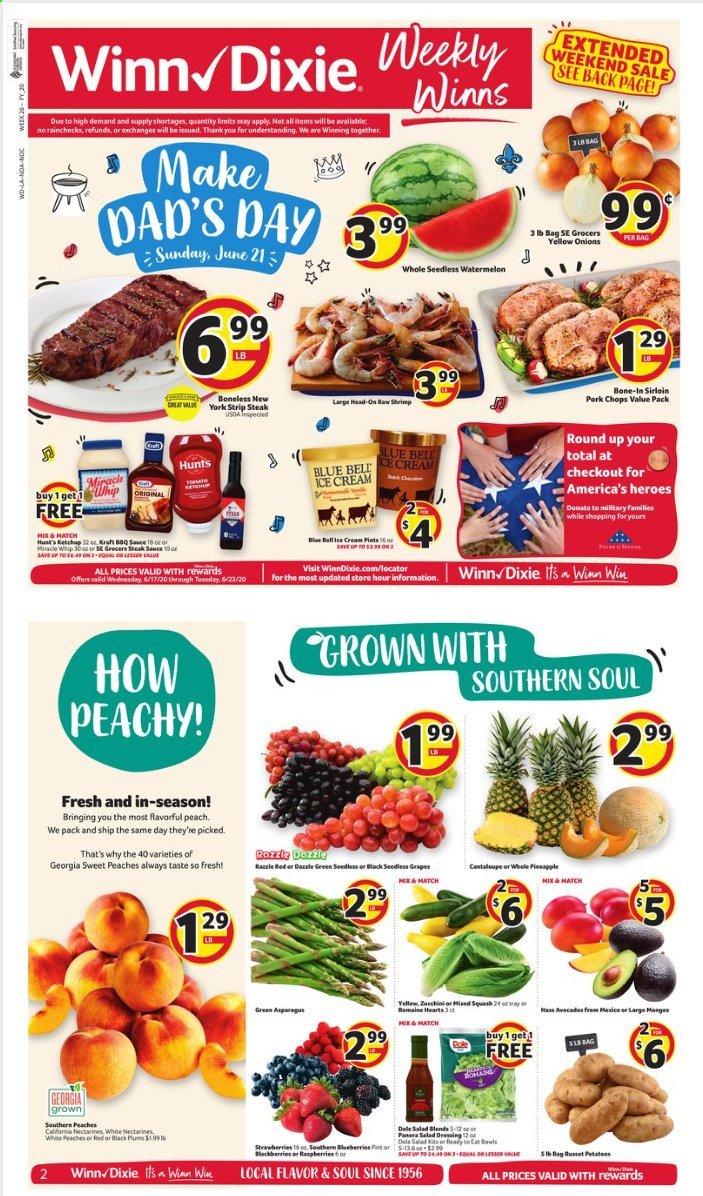 Winn Dixie Flyer - 06.17.2020 - 06.23.2020 - Sales products - asparagus, cantaloupe, russet potatoes, squash, yellow onions, potatoes, onion, blueberries, grapes, nectarines, raspberries, seedless grapes, strawberries, watermelon, pineapple, plums, peache, steak, shrimps, ice cream. Page 1.