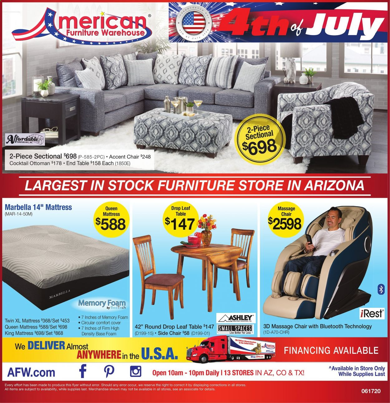 American Furniture Warehouse Flyer  - 06.17.2020 - 07.04.2020. Page 1.