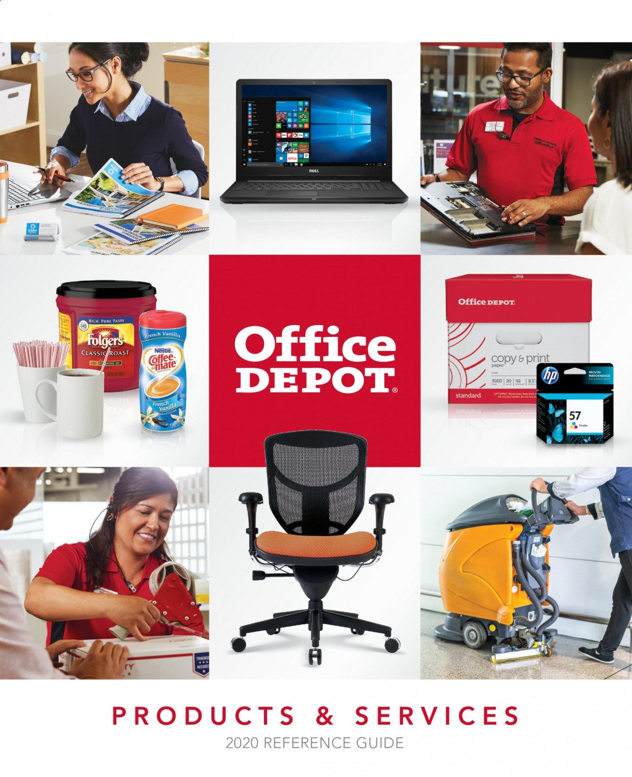 Office DEPOT Flyer - Sales products - dell, mate, nestlé, hp, roast, folgers. Page 1.