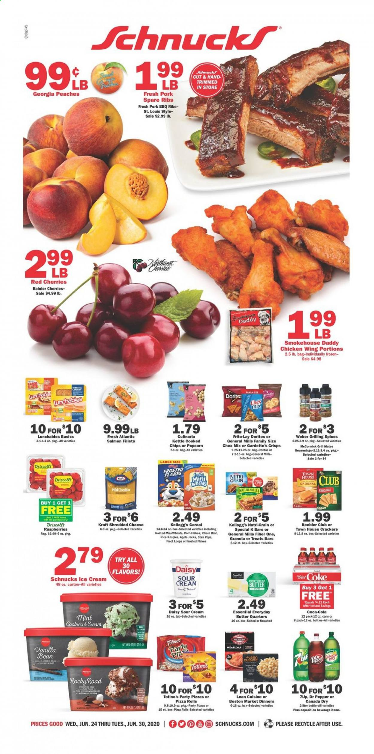 Schnucks Flyer - 06.24.2020 - 06.30.2020 - Sales products - raspberries, pizza rolls, rolls, salmon, salmon fillet, pizza, meatloaf, Lean Cuisine, Lunchables, Kraft®, shredded cheese, cheddar, butter, sour cream, ice cream, cookies, crackers, Kellogg's, Keebler, Doritos, popcorn, Frito-Lay, Chex Mix, cereals, granola, corn flakes, Rice Krispies, Frosted Flakes, Corn Pops, Raisin Bran, Fiber One, Nutri-Grain, Canada Dry, Coca-Cola, Dr. Pepper, 7UP, turkey, chicken, pork meat, pork spare ribs. Page 1.