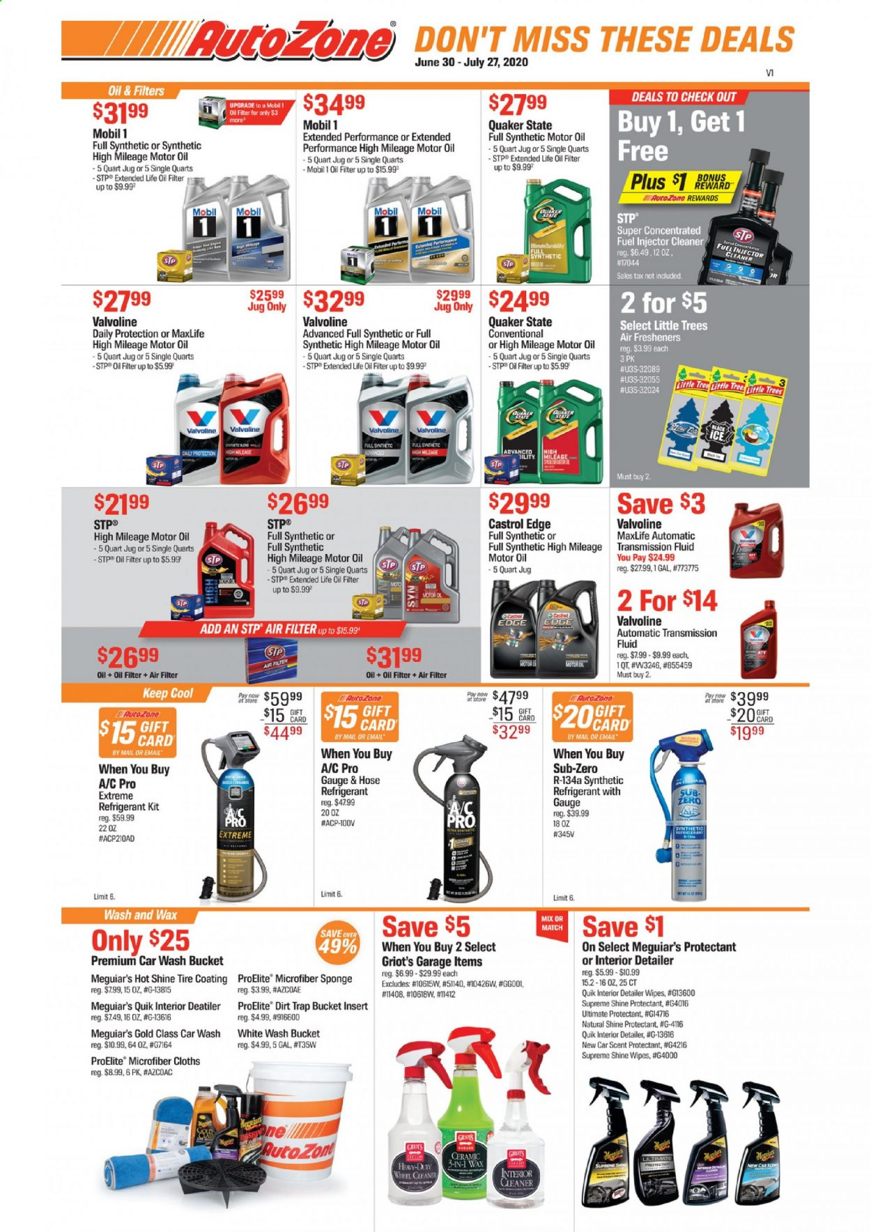 Autozone Flyer - 06.30.2020 - 07.27.2020 - Sales products - air filter, buck, fluid, fuel, microfiber, mobil, motor oil, tree, wipes, injector cleaner, insert, sponge, gift card, transmission fluid, car, moto, jug, bucket, cleaner, hose, cool. Page 1.