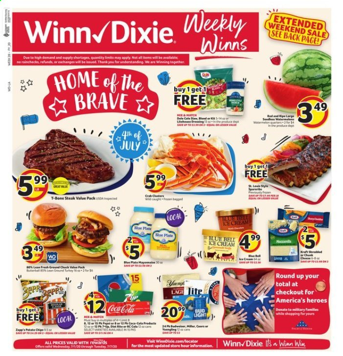 Winn Dixie Flyer - 07.01.2020 - 07.07.2020 - Sales products - ground chuck, mate, t-bone steak, watermelon, ice cream, plate, chips, steak, cheese, dressing, crab. Page 1.
