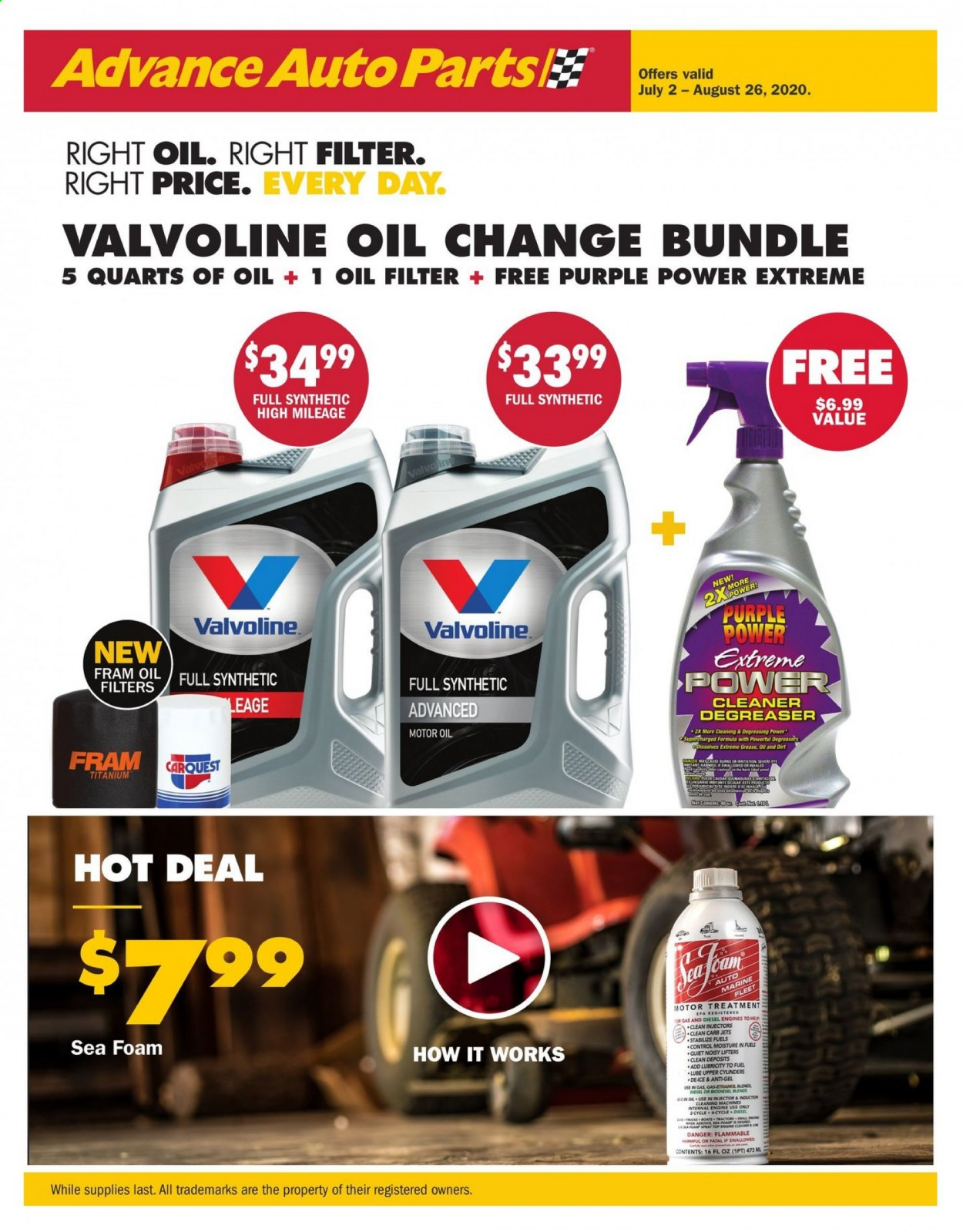 Advance Auto Parts Flyer - 07.02.2020 - 08.26.2020 - Sales products - bundle, engine cleaner, foam, fuel, moisture, motor oil, spray, treatment, cleaner, control. Page 1.