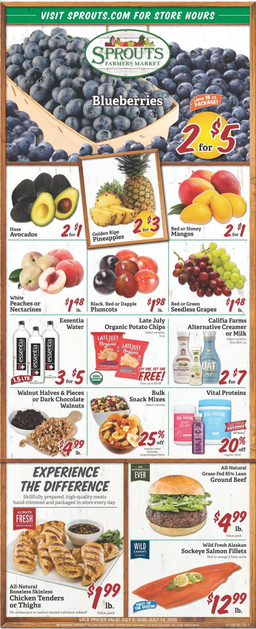 Sprouts Flyer - 07.08.2020 - 07.14.2020 - Sales products - avocado, beef meat, bittersweet chocolate, blueberries, grapes, ground beef, mango, milk, nectarines, salmon, seedless grapes, walnuts, honey, pineapple, potato chips, chicken, peaches, omega-3, organic, chicken tenders, chips, chocolate, coconut, creamer, snack. Page 1.