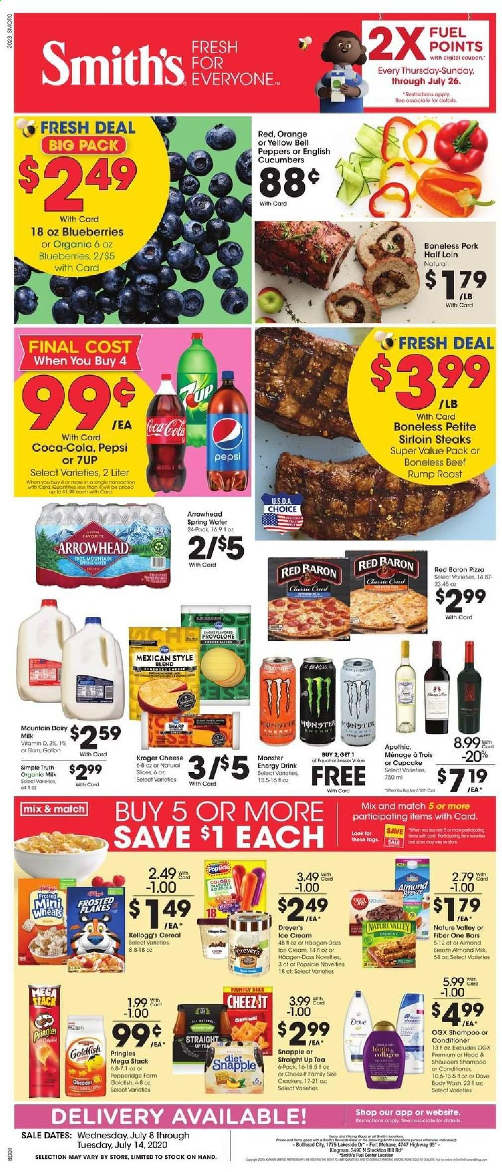 Smith's Flyer - 07.08.2020 - 07.14.2020 - Sales products - beef meat, bell peppers, blueberries, body wash, cereals, coca-cola, conditioner, crackers, cucumbers, cupcake, cupcakes, dates, dove, fuel, mat, milk, shampoo, sharp, spring water, tea, ice cream, pizza, pork meat, pringles, provolone, ps+, cheddar, pepsi, orange, organic, cheese, cereal, energy drink, monster, flakes, drink, peppers, gard, roast. Page 1.