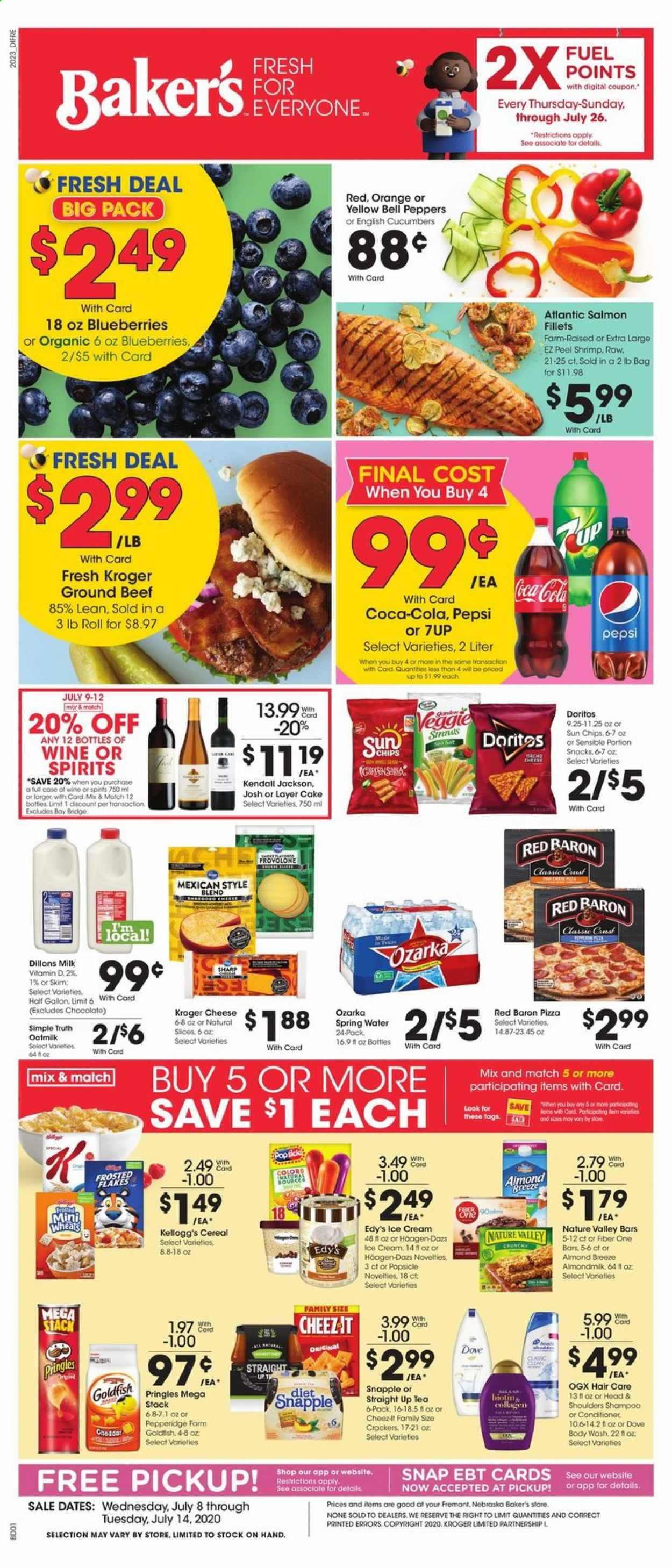 Baker's Flyer - 07.08.2020 - 07.14.2020 - Sales products - bag, beef meat, bell peppers, blueberries, body wash, cereals, coca-cola, conditioner, crackers, cucumbers, dates, doritos, dove, fuel, ground beef, milk, salmon, shampoo, sharp, shrimp, spring water, tea, veggie, head & shoulders, ice cream, pizza, pringles, provolone, cheddar, pepsi, orange, organic, chips, chocolate, cheese, cake, cereal, wine, flakes, peppers. Page 1.
