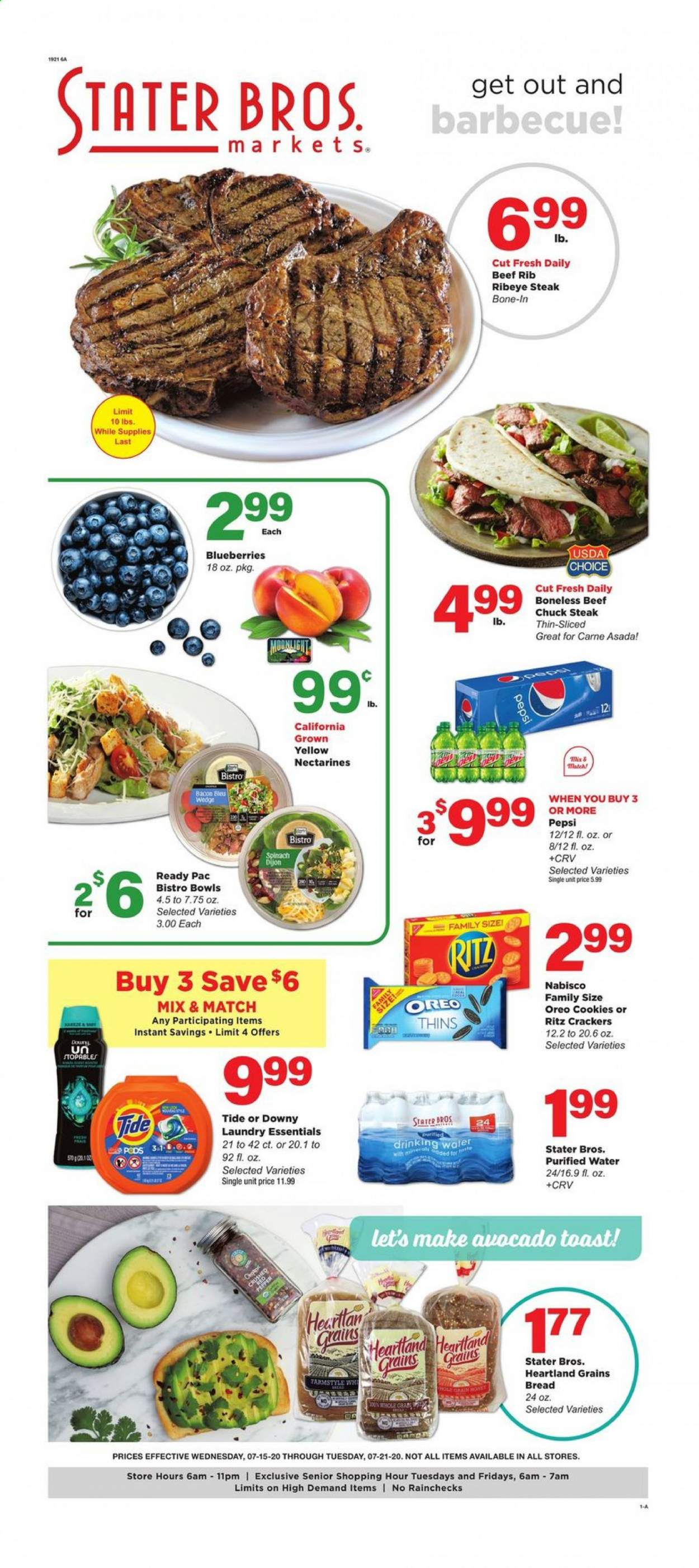 Stater Bros. Flyer - 07.15.2020 - 07.21.2020 - Sales products - avocado, bacon, beef meat, blueberries, bowl, bread, cookies, crackers, downy, gra, nectarines, spinach, tide, pepsi, oreo, steak, ritz, purified water. Page 1.