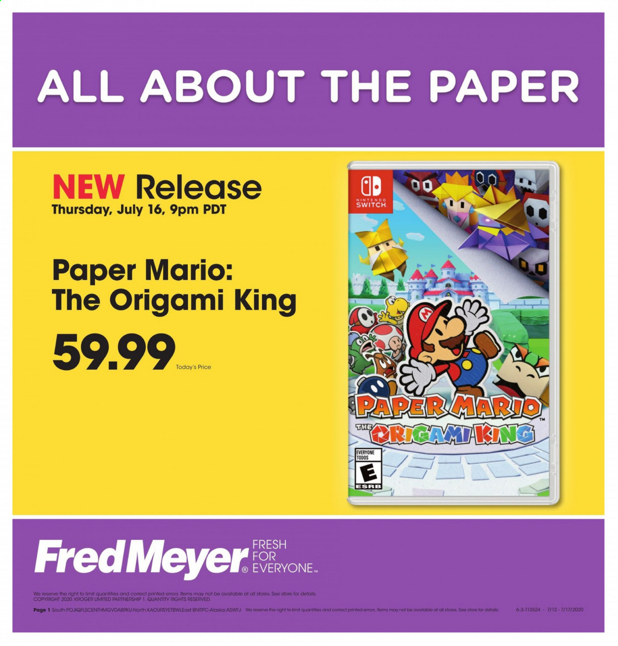Fred Meyer Flyer - 07.16.2020 - 07.17.2020 - Sales products - switch, nintendo, nintendo switch. Page 1.