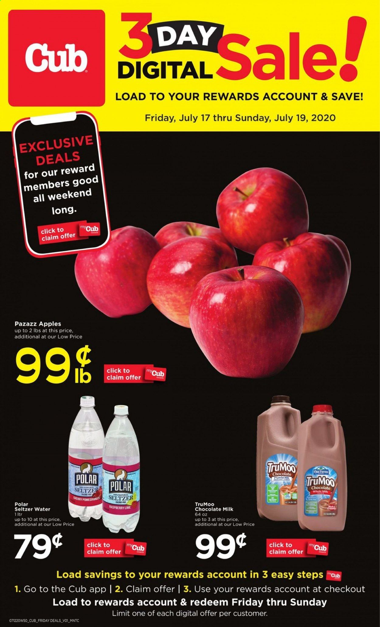 Cub Foods Flyer - 07.17.2020 - 07.19.2020 - Sales products - apples, milk, seltzer, chocolate milk, chocolate, raspberry, apple. Page 1.
