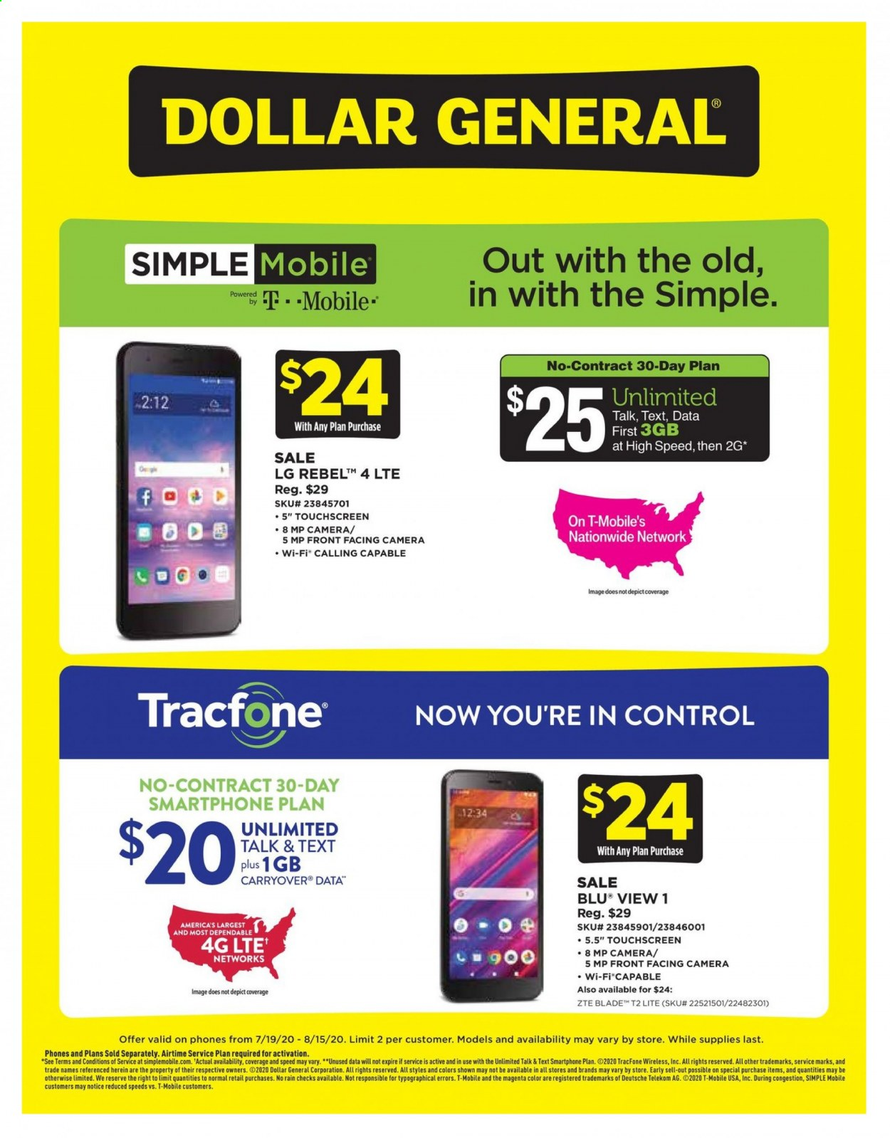 Dollar General Flyer - 07.19.2020 - 08.15.2020 - Sales products - camera, lg, lte, wifi, wireless, smartphone, touchscreen, control. Page 1.