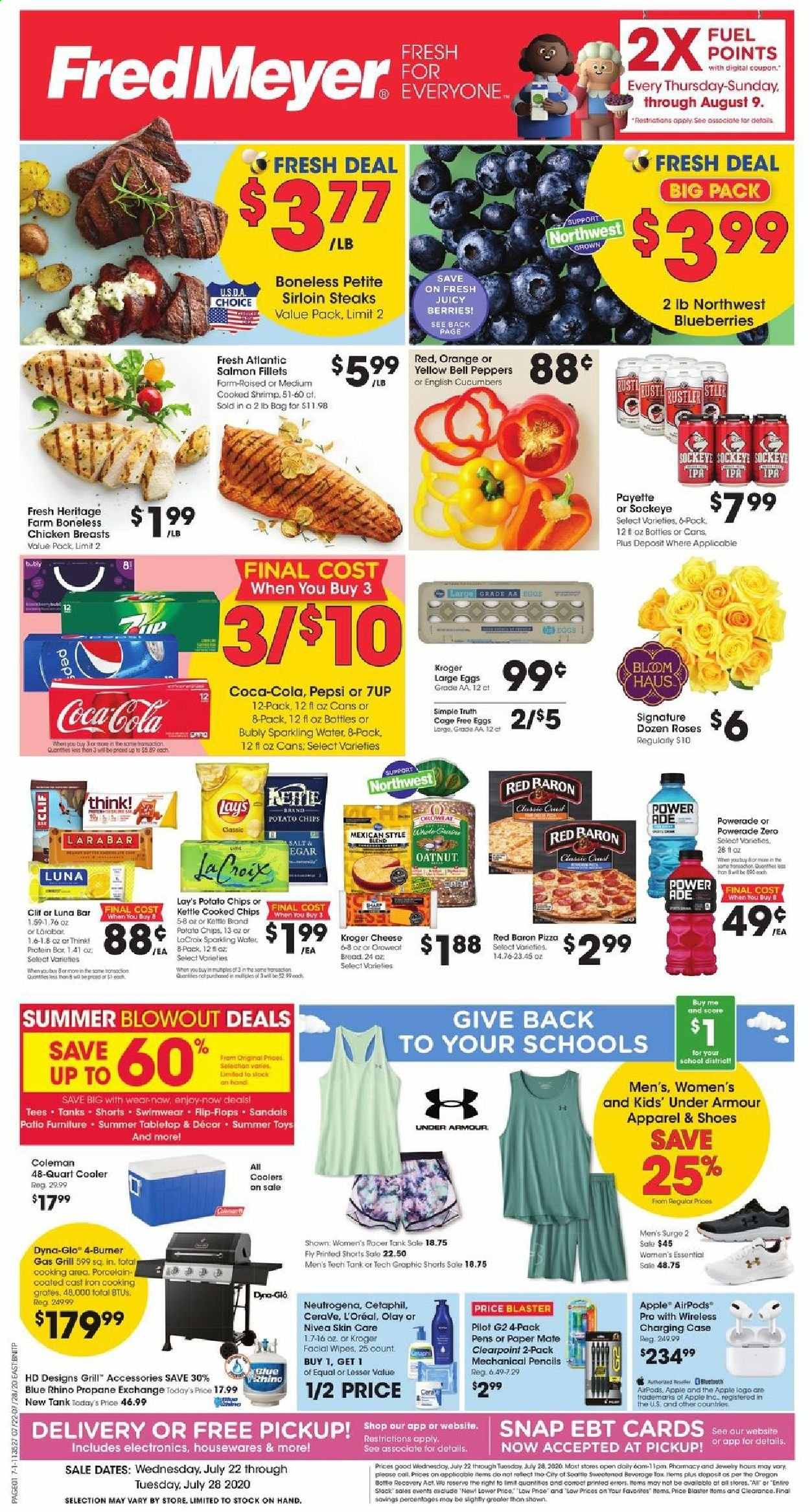 Fred Meyer Flyer - 07.22.2020 - 07.28.2020 - Sales products - apparel, bag, bell peppers, blueberries, bottle, bread, case, cerave, coca-cola, cucumbers, dates, eggs, fuel, furniture, gas grill, grill, l'oréal, mate, neutrogena, salmon, sandals, shoes, shorts, shrimp, surge, tee, under armour, wipes, iron, pizza, potato chips, powerade, protein, chicken, chicken breast, patio, pepsi, nivea, olay, orange, chips, toys, cheese, sparkling water, jewelry, roses, wireless, salt, cooler, lay's, blaster, outdoor furniture, pencils, peppers, rust, shrimps, chicken breasts, protein bar, cast iron, kettle, rhino. Page 1.