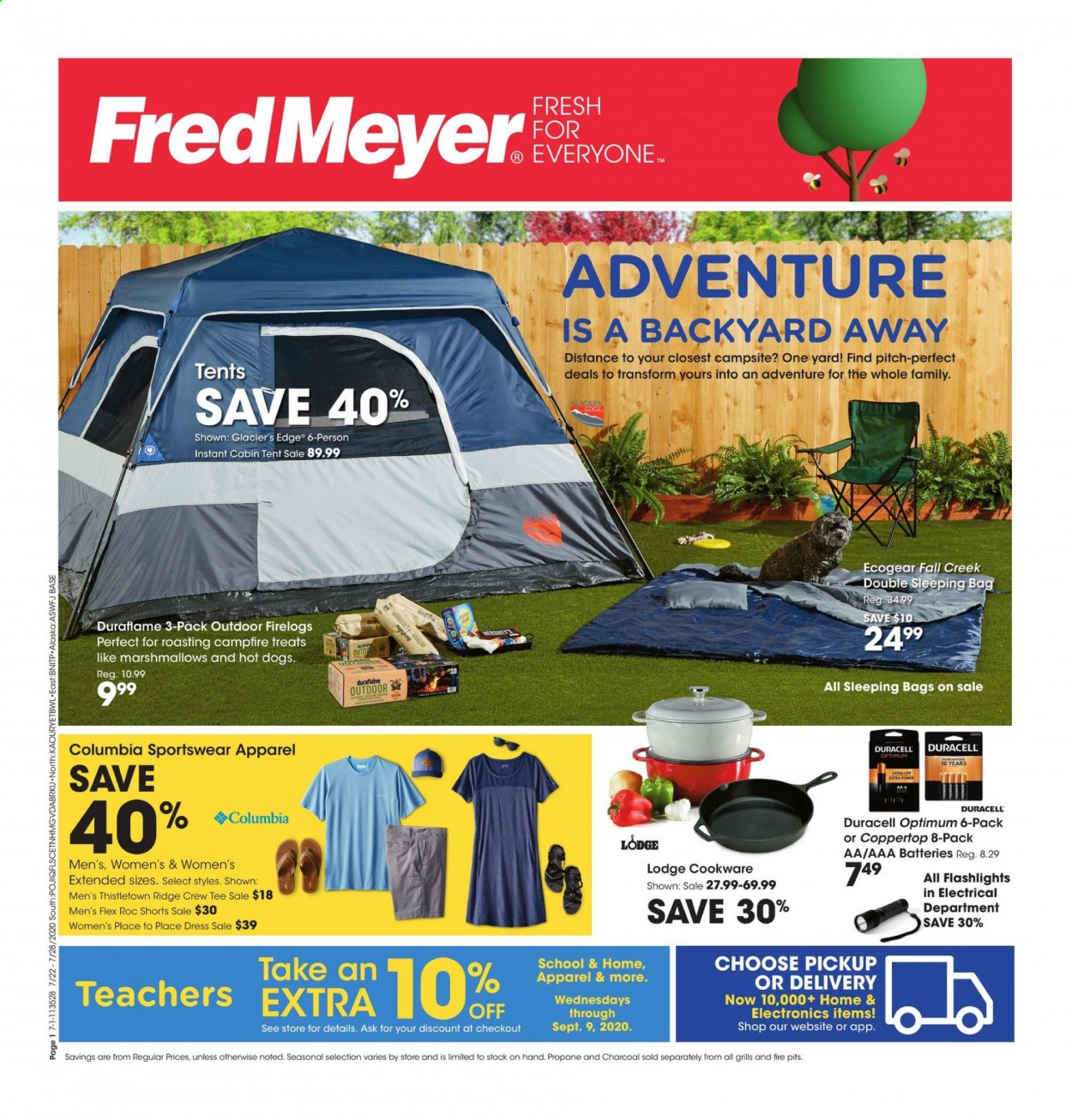 Fred Meyer Flyer - 07.22.2020 - 07.28.2020 - Sales products - apparel, bag, campfire, dress, duracell, columbia, flashlight, marshmallows, shorts, sleeping bag, tee, tent, hot dog, charcoal, treats, marshmallow, aaa batteries. Page 1.
