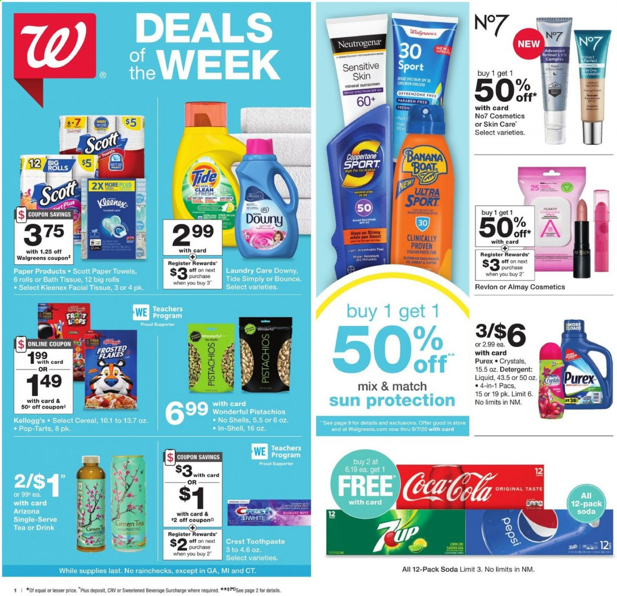 Walgreens Flyer - 07.26.2020 - 08.01.2020 - Sales products - almay, band, bath tissue, boat, bounce, cereals, coca-cola, crest, detergent, downy, green tea, kleenex, mint, neutrogena, revlon, scott, shell, tea, tide, paper towel, pepsi, ginseng, soda, toothpaste, cereal, cosmetics, flakes, drink, liquid, lemon, foundation, water resistant, paper towels. Page 1.