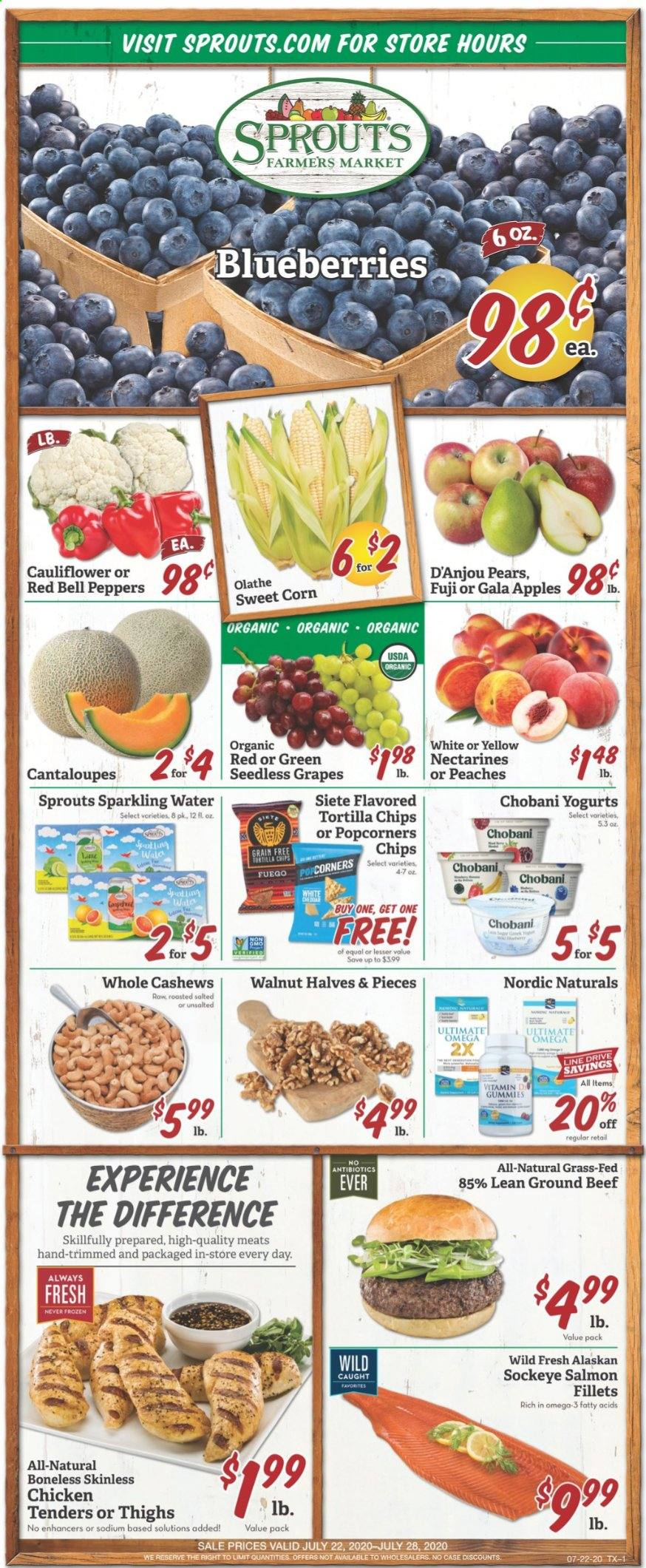 Sprouts Flyer - 07.22.2020 - 07.28.2020 - Sales products - beef meat, bell peppers, blueberries, cantaloupe, case, cashews, cauliflower, corn, gala apples, grapes, ground beef, nectarines, salmon, seedless grapes, tortilla chips, chicken, peaches, pears, omega-3, organic, chicken tenders, chips, sparkling water, peppers, peache. Page 1.