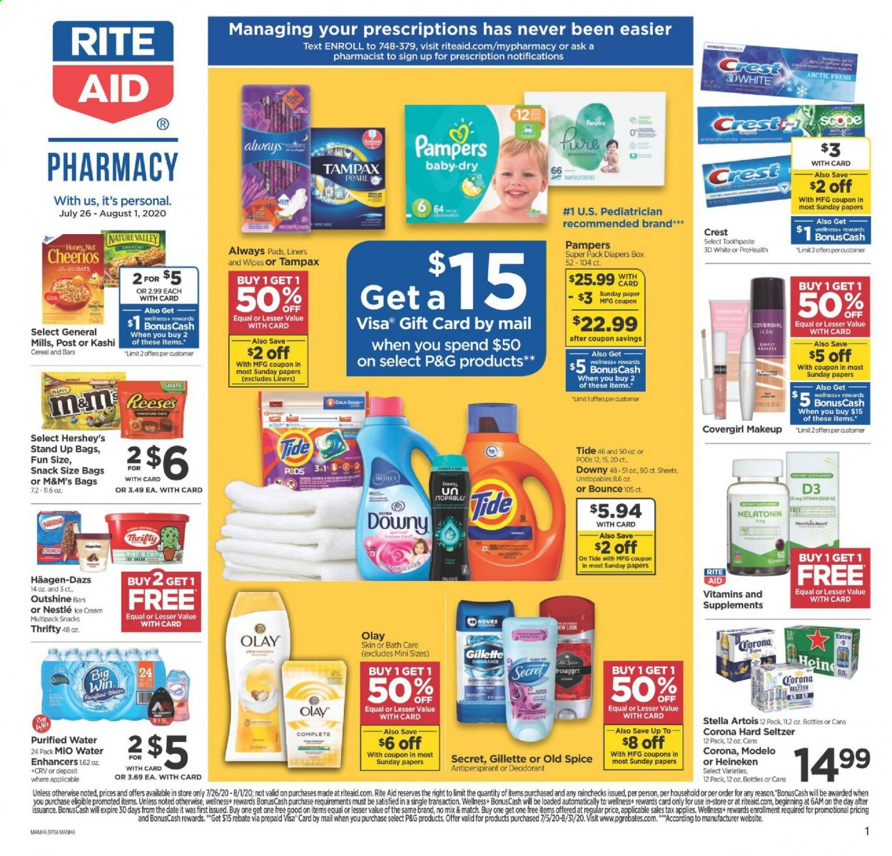RITE AID Flyer - 07.26.2020 - 08.01.2020 - Sales products - bag, box, cereals, Downy, Gillette, makeup, Melatonin, moisture, Nestlé, secret, seltzer, Stella Artois, surface, Tampax, Tide, Unstopables, wipes, honey, cheerios, Pampers, peanuts, oats, Olay, Old Spice, toothpaste, snack, corona, heineken, purified water, cream, diapers, M&M's, Always Pads. Page 1.