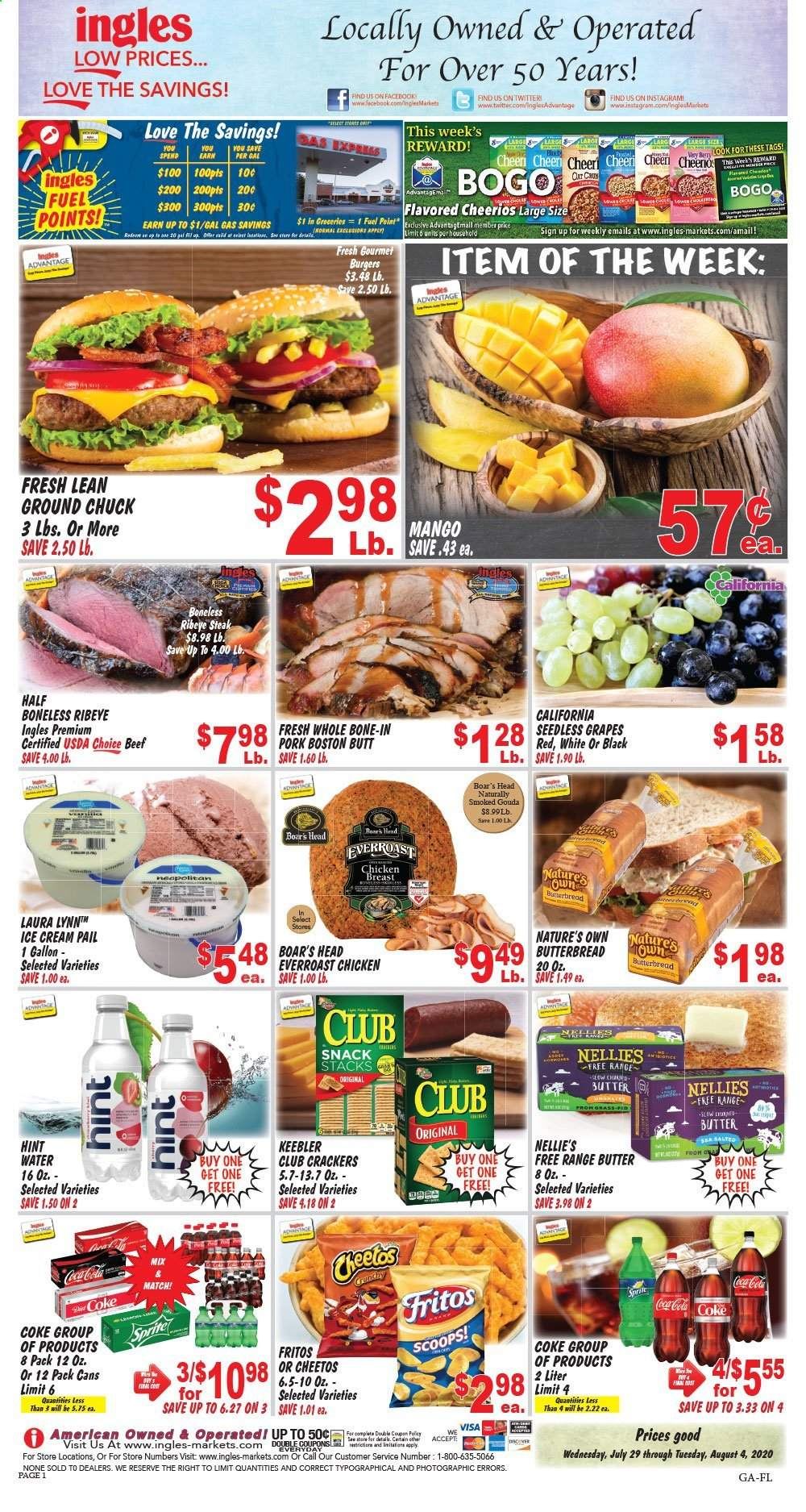 Ingles Flyer - 07.29.2020 - 08.04.2020 - Sales products - beef meat, butter, coca-cola, Fritos, fuel, gouda, grapes, ground chuck, mango, seedless grapes, ice cream, pork meat, cheerios, cheetos, chicken, chicken breast, steak, snack, burger. Page 1.