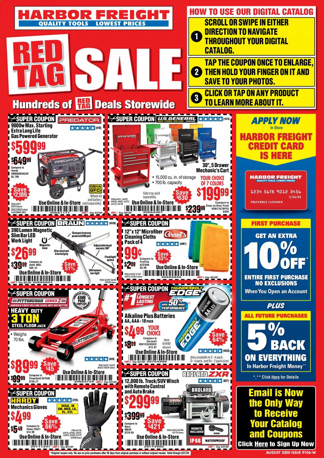 Harbor Freight Flyer - 08.01.2020 - 08.31.2020 - Sales products - tools, truck, generator, cart, floor jack. Page 1.