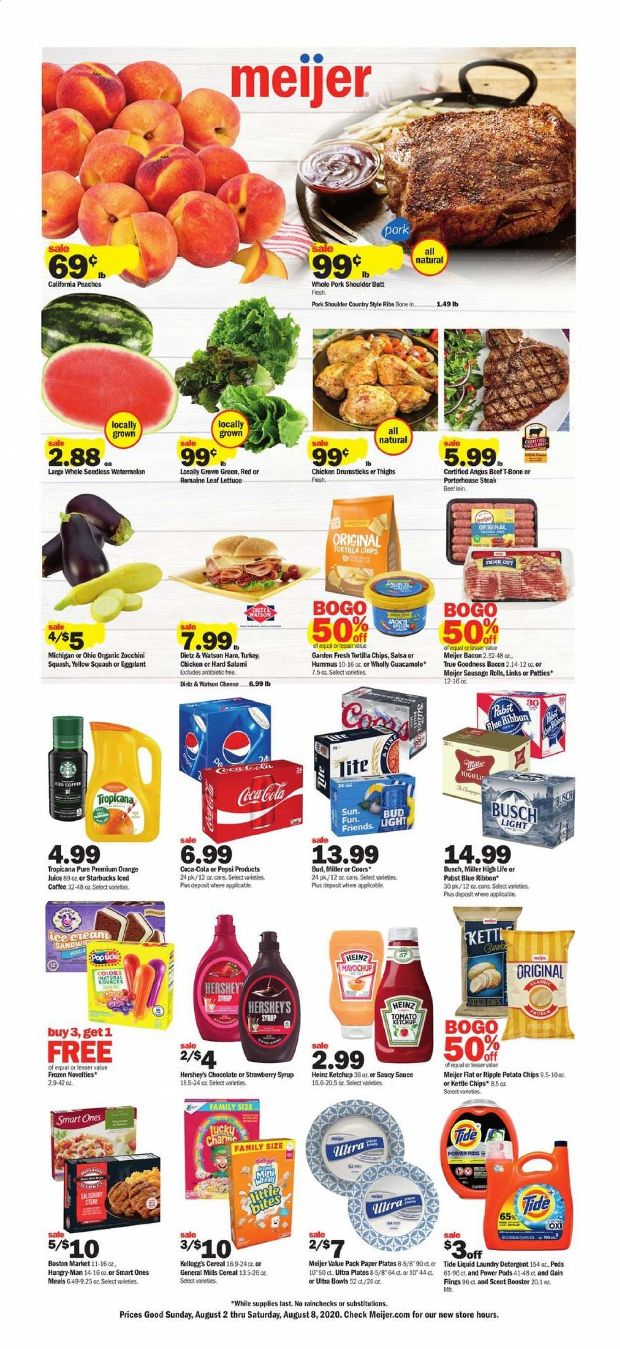 Meijer Flyer - 08.02.2020 - 08.08.2020 - Sales products - sausage rolls, rolls, Blue Ribbon, sandwich, sauce, bacon, salami, ham, Dietz & Watson, sausage, hummus, guacamole, cheese, salsa, Hershey's, zucchini squash, lettuce, eggplant, chocolate, Kellogg's, tortilla chips, potato chips, Heinz, cereals, ketchup, syrup, Coca-Cola, Pepsi, orange juice, juice, iced coffee, Starbucks, beer, Coors, Busch, Bud Light, Miller, turkey, chicken, chicken drumsticks, chicken meat, beef meat, t-bone steak, steak, pork meat, pork shoulder, country style ribs, detergent, Gain, Tide, laundry detergent, plate, paper. Page 1.