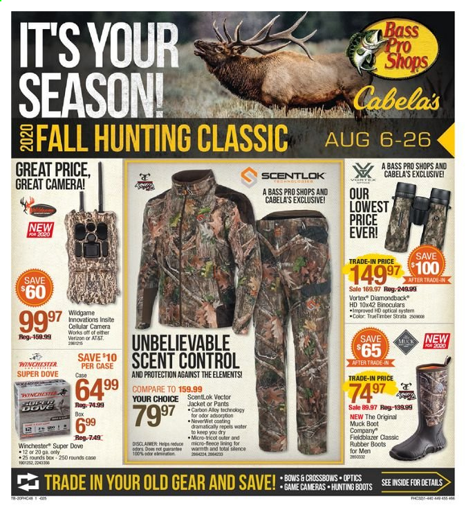 Bass Pro Shops Flyer - 08.06.2020 - 08.26.2020 - Sales products - bass pro, binoculars, boots, box, camera, case, dove, vortex, winchester, hunting boots, jacket, pants, optics, game, gear, control. Page 1.