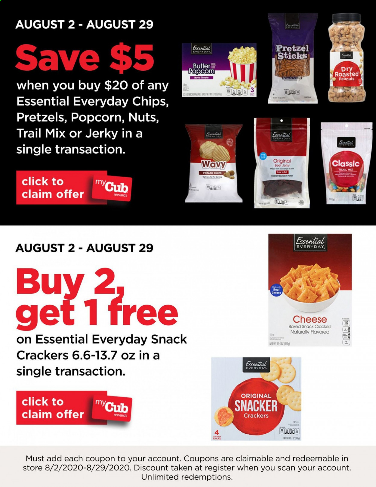 Cub Foods Flyer - 08.02.2020 - 08.29.2020 - Sales products - beef jerky, beef meat, butter, crackers, jerky, popcorn, potato chips, pretzels, peanuts, chips, cheese, snack, nuts. Page 1.