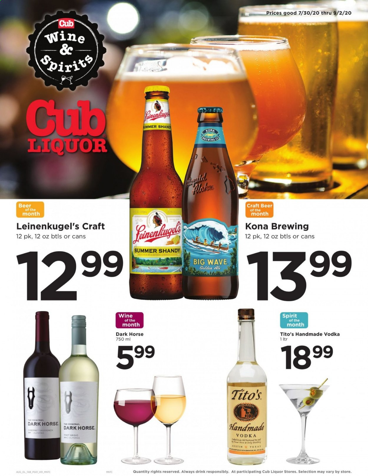 Cub Foods Flyer - 07.30.2020 - 09.02.2020 - Sales products - ale, always, beer, cabernet sauvignon, craft beer, leinenkugel's, vodka, pot, wine, drink, cabernet, liquor, sauvignon. Page 1.