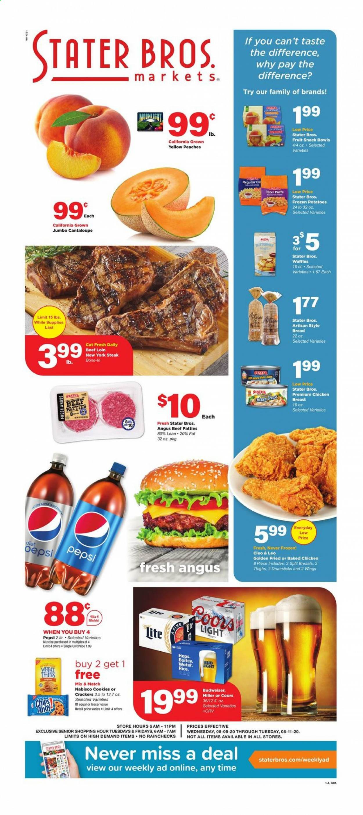 Stater Bros. Flyer - 08.05.2020 - 08.11.2020 - Sales products - barley, beef meat, bowl, bread, budweiser, cantaloupe, cookies, crackers, gra, rice, potatoes, puffs, chicken, peaches, pepsi, chips, steak, snack, bud light, fruit, wings, miller, coors, peache. Page 1.