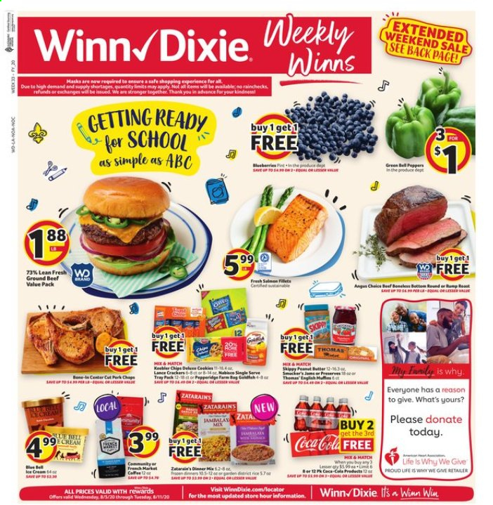 Winn Dixie Flyer - 08.05.2020 - 08.11.2020 - Sales products - bag, beef meat, blueberries, ground beef, tray, peanuts, chips, peppers, cream. Page 1.