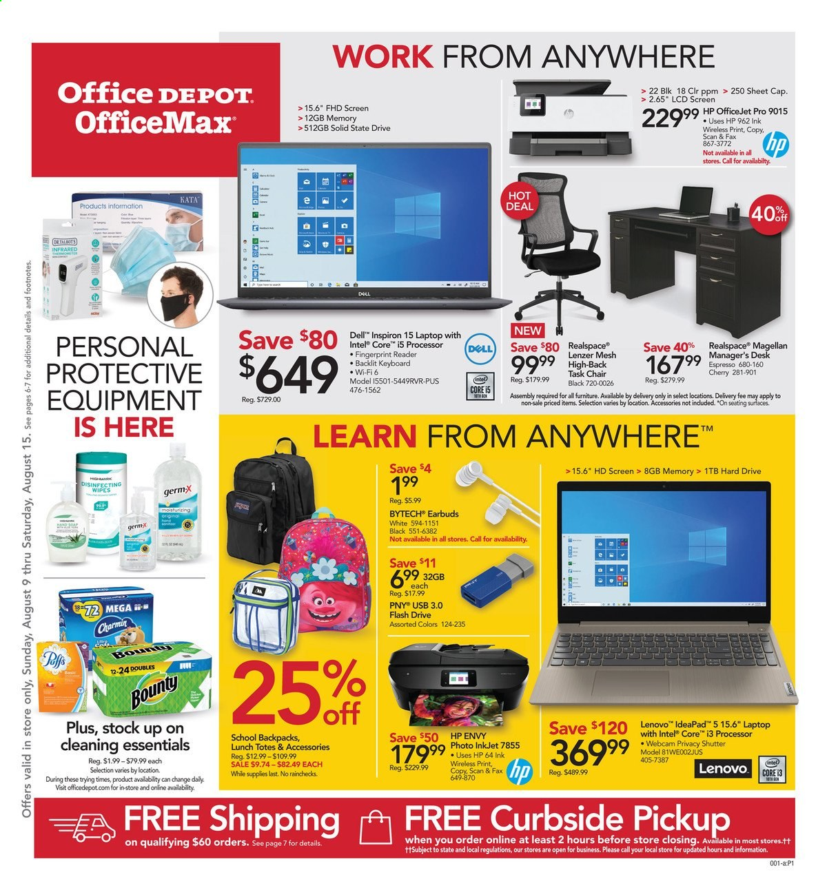 Office DEPOT Flyer - 08.09.2020 - 08.15.2020 - Sales products - cap, Dell, flash drive, Furniture, laptop, Lenovo, Magellan, sheet, solid, task chair, webcam, wifi, wipes, HP, chair, Intel, keyboard, officejet, hp envy, Bounty, Inspiron, USB. Page 1.