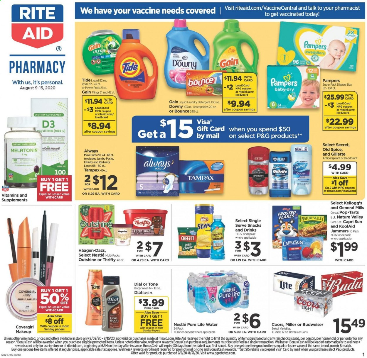 RITE AID Flyer - 08.09.2020 - 08.15.2020 - Sales products - always, body wash, bounce, box, budweiser, capri sun, cereals, d3, deodorant, detergent, downy, gain, gillette, makeup, melatonin, nestlé, secret, tampax, tide, unstopables, cheddar, pampers, olay, old spice, pads, snack, gift card, cereal, flakes, fruit, miller, coors, liquid, laundry detergent, diapers. Page 1.