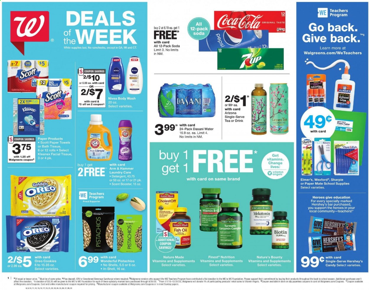 Walgreens Flyer - 08.16.2020 - 08.22.2020 - Sales products - Scott, rolls, milk, Oreo, Hershey's, cookies, candy, Bounty, ARM & HAMMER, cocoa, pistachios, Coca-Cola, Pepsi, soda, AriZona, purified water, green tea, tea, Nivea, bath tissue, Kleenex, kitchen towels, paper towels, detergent, body wash, glue, scissors, folder, PaperMate, Sharpie, Biotin, Melatonin, Nature Made, Nature's Bounty, ginseng, water. Page 1.