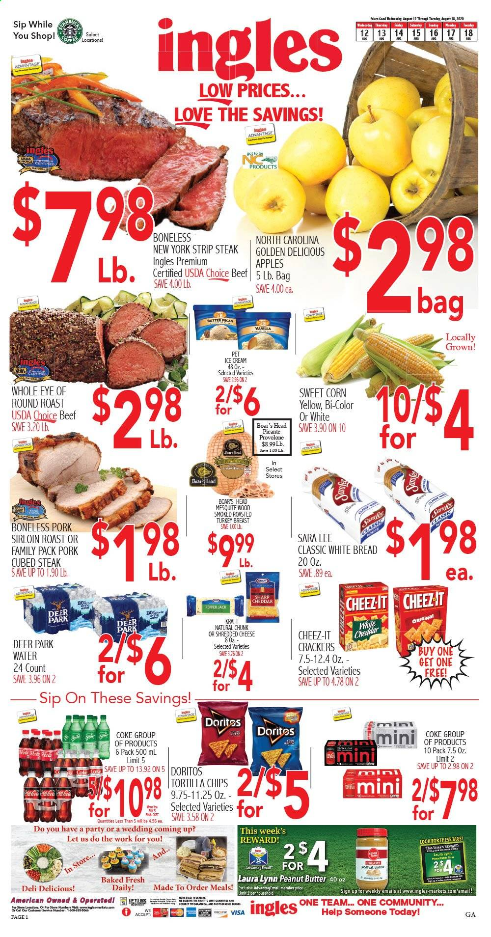 Ingles Flyer - 08.12.2020 - 08.18.2020 - Sales products - deer, corn, golden delicious apples, bread, white bread, shredded cheese, cheddar, Pepper Jack cheese, cheese, ice cream, crackers, Doritos, tortilla chips, chips, pepper, peanut butter, Coca-Cola, water, turkey, turkey breast, beef meat, steak, eye of round, pork meat. Page 1.