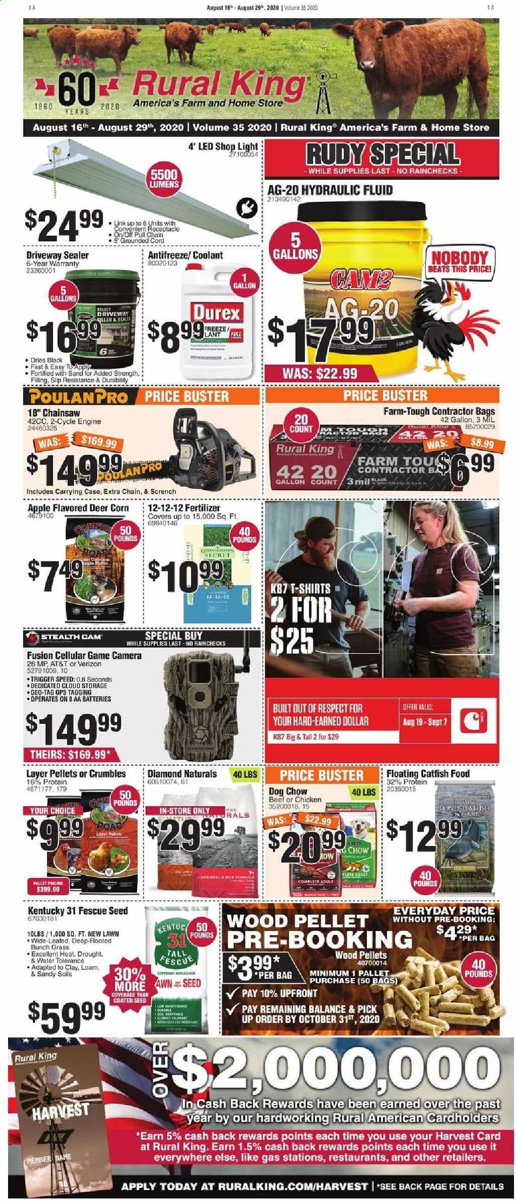 Rural King Flyer - 08.16.2020 - 08.29.2020 - Sales products - apples, bag, beef meat, camera, case, catfish, corn, deer, dog chow, fluid, game cam, gps, lamb meat, rice, secret, shirt, stealth cam, protein, chicken, chow, game, pellet, seed, lamb, apple, aa batteries, beats, led. Page 1.