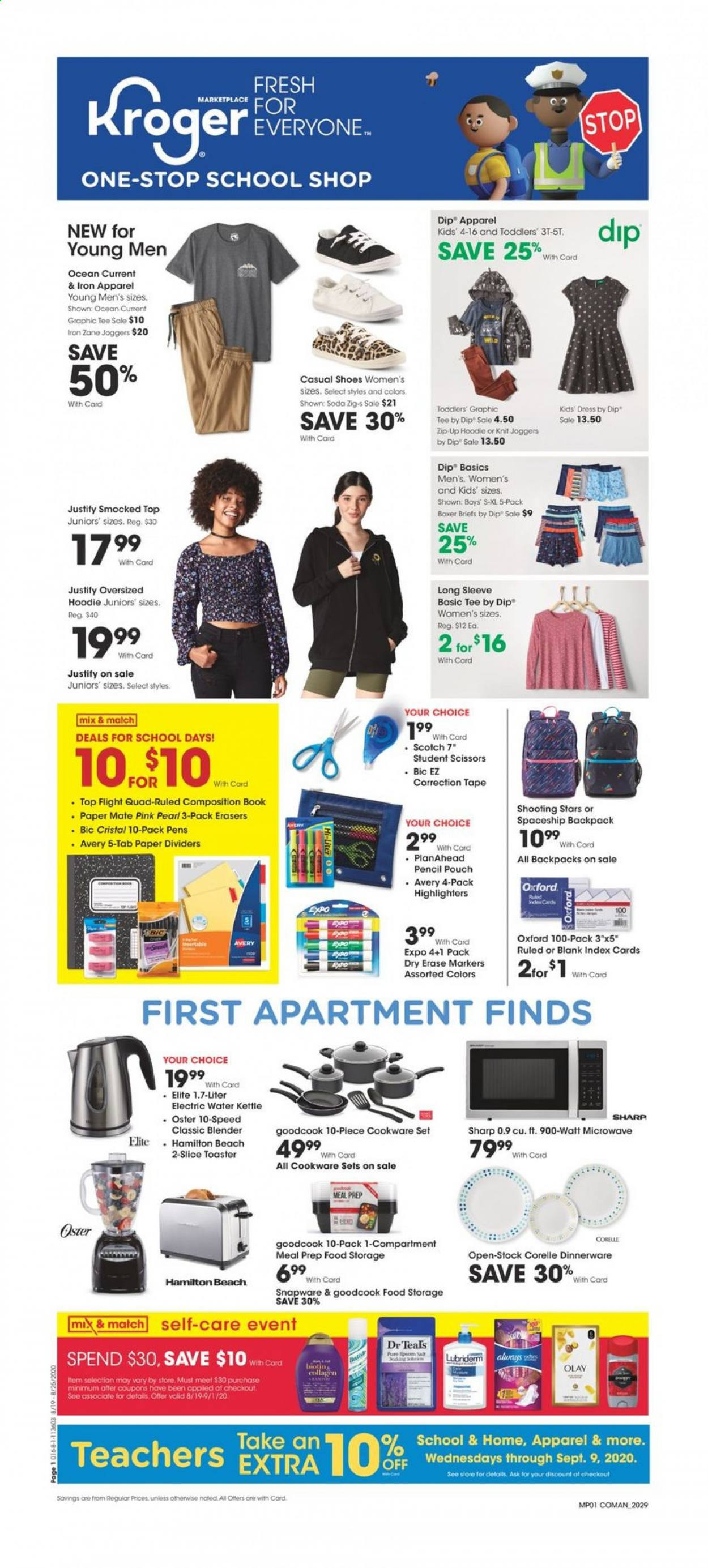 Kroger Flyer - 08.19.2020 - 08.25.2020 - Sales products - apparel, backpack, bic, blender, cookware set, dress, graphic tee, lubriderm, mate, microwave, sharp, shoes, tape, tee, hoodie, iron, olay, soda, toaster, scissors, dinnerware, book, kettle. Page 1.